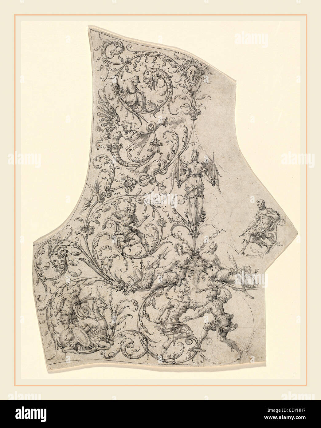 Etienne Delaune, The Backplate of a Suit of Parade Armor, French, 1518-1519-1583, c. 1557, pen and black ink with - Stock Image