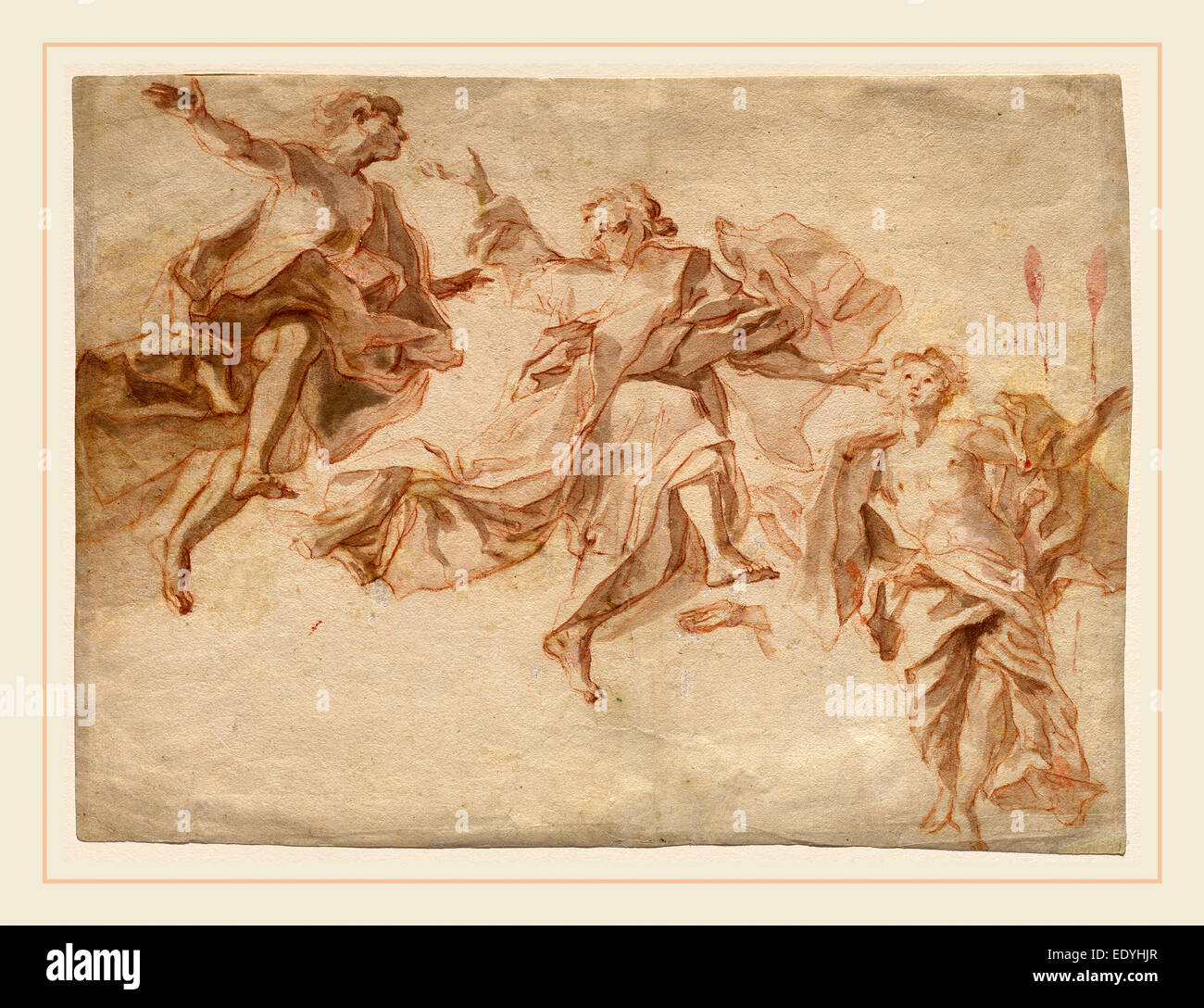 Cosmas Damian Asam, German (1686-1739), The Ascension of Christ, 1720, red chalk with gray wash on laid paper - Stock Image
