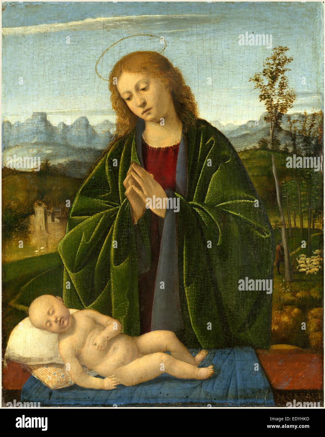 Marco Basaiti, Italian (active 1496-1530), Madonna Adoring the Child,
