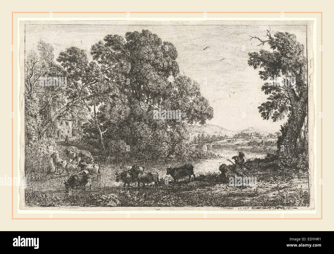 Claude Lorrain, French (1604-1605-1682), The Cowherd (Le bouvier), 1636, etching - Stock Image