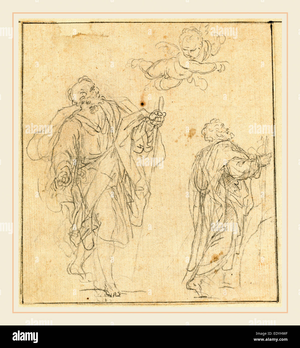 Agostino Masucci, Italian (1691-1758), Two Biblical Figures Guided by a Cherub, black chalk on laid paper - Stock Image