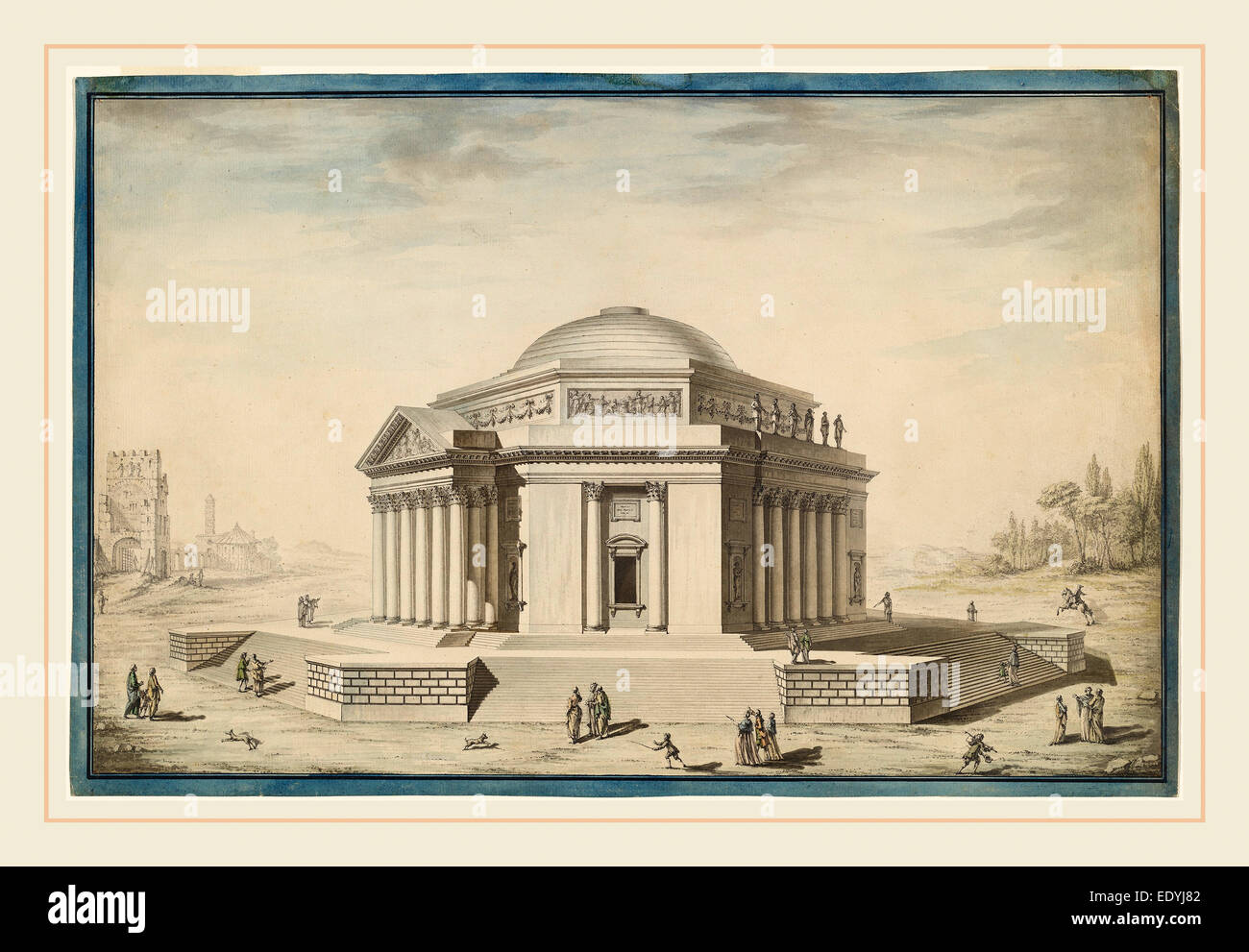 Louis Gustave Taraval, Hexagonal Temple in an Italianate Landscape, French, 1739-1794, c. 1780, pen and black ink - Stock Image