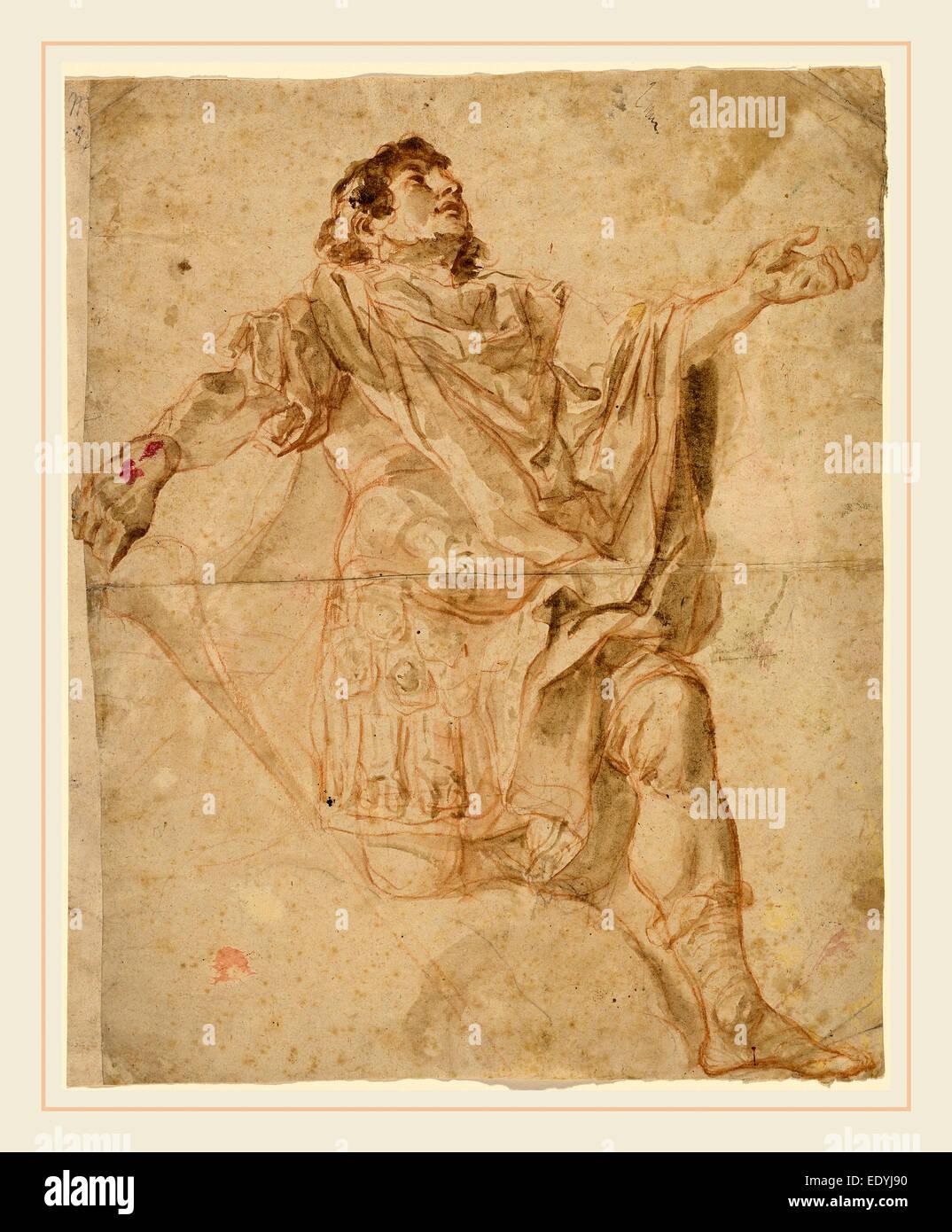 Cosmas Damian Asam, German (1686-1739), Saint George Kneeling (recto), 1720-1721, red chalk with gray-brown wash Stock Photo