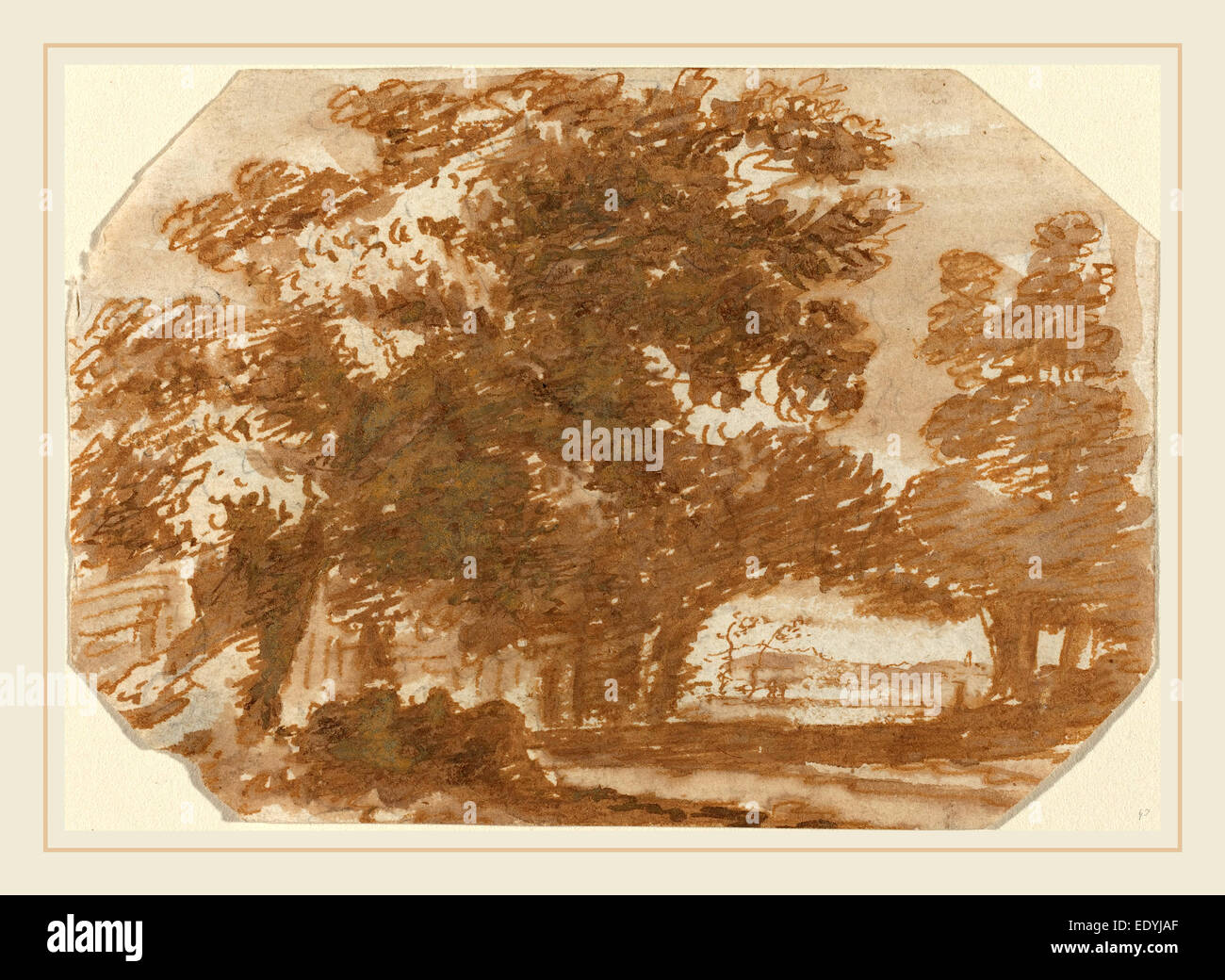 Claude Lorrain, French (1604-1605-1682), Grove of Trees, c. 1640, pen and brown ink with gray wash on laid paper - Stock Image