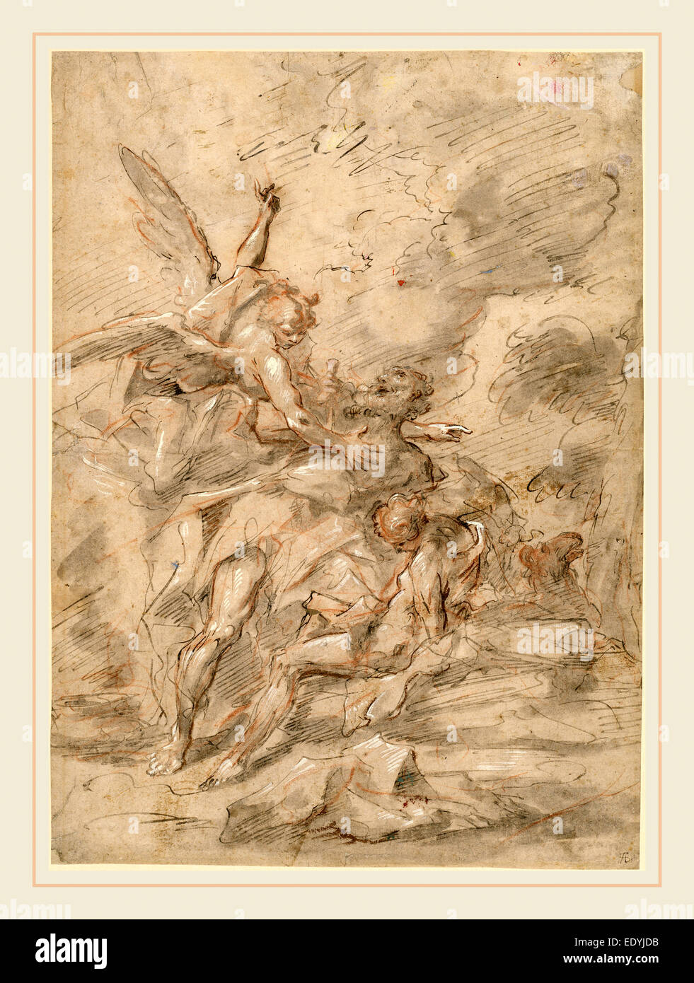 Gaspare Diziani, Italian (1689-1767), The Sacrifice of Isaac, 1750-1755, pen and gray and brown ink with gray wash - Stock Image