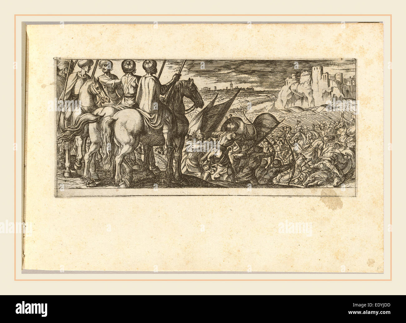 Antonio Tempesta, Italian (1555-1630), Battle Scene with Cavalry Observing from a Hill, etching - Stock Image