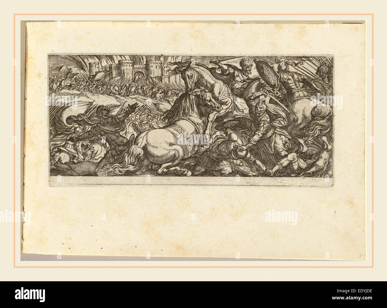 Antonio Tempesta, Italian (1555-1630), Battle Scene with Two Horses Attacking Each Other, etching - Stock Image
