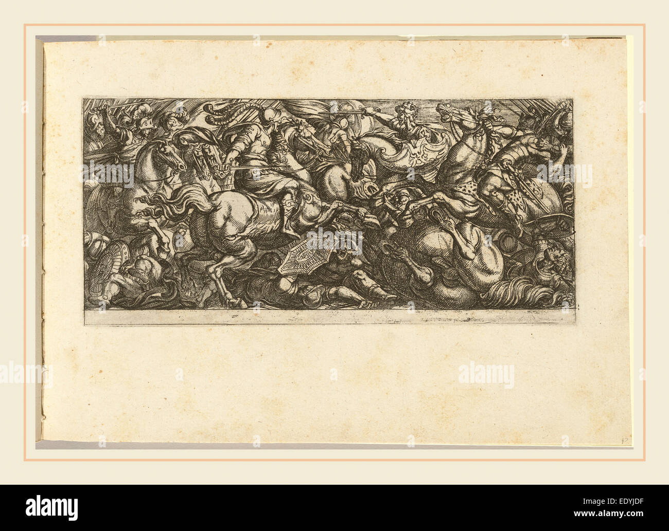 Antonio Tempesta, Italian (1555-1630), Cavalry Charge with Soldiers and Horses Trampled, etching Stock Photo