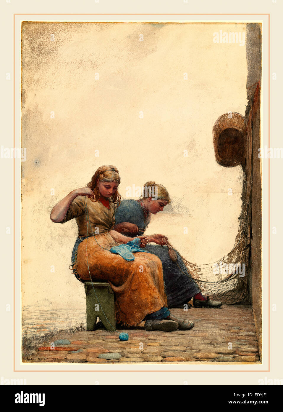 Winslow Homer, American (1836-1910), Mending the Nets, 1882, watercolor and gouache over graphite - Stock Image