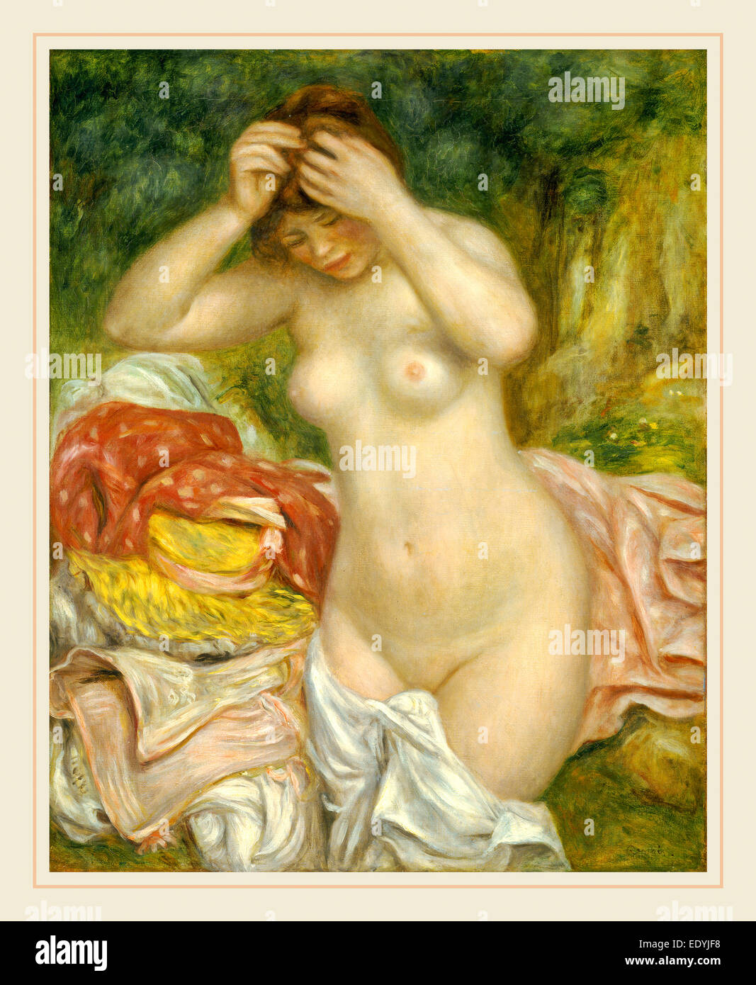 Auguste Renoir, French (1841-1919), Bather Arranging Her Hair, 1893, oil on canvas - Stock Image