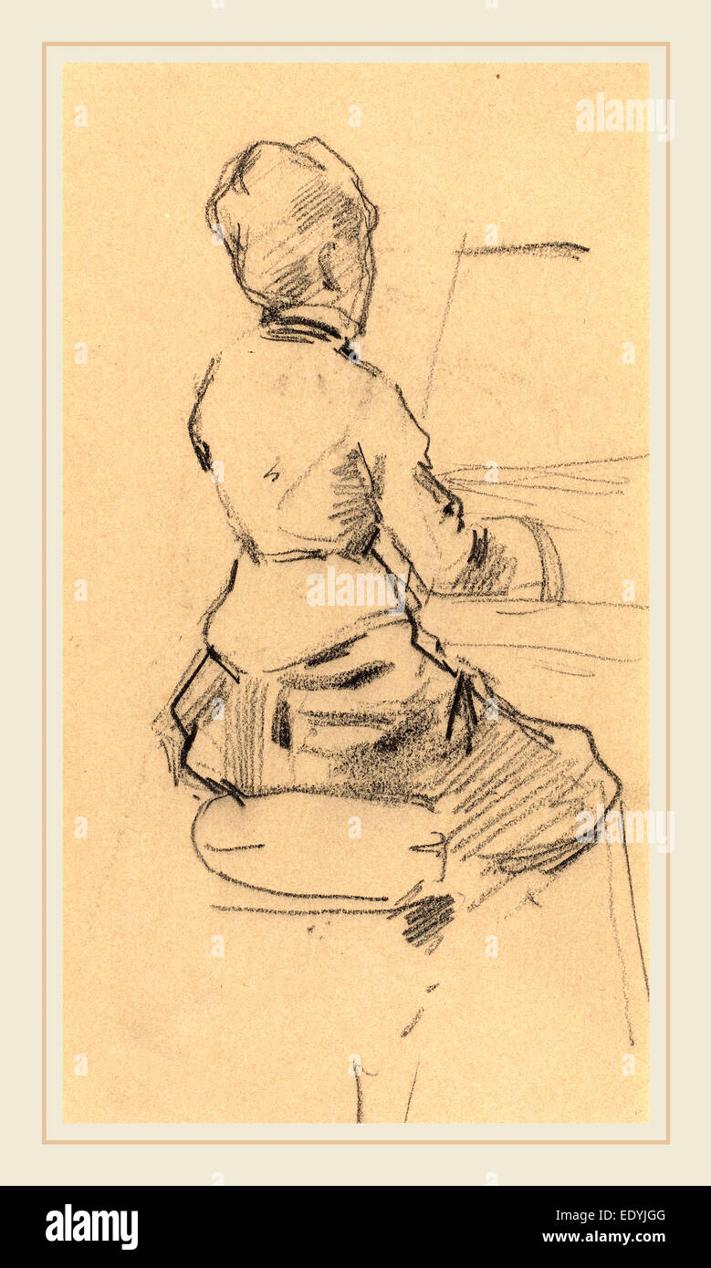 Jean-Louis Forain, French (1852-1931), Young Woman Seated at a Piano [verso], c. 1890, black chalk on wove paper - Stock Image