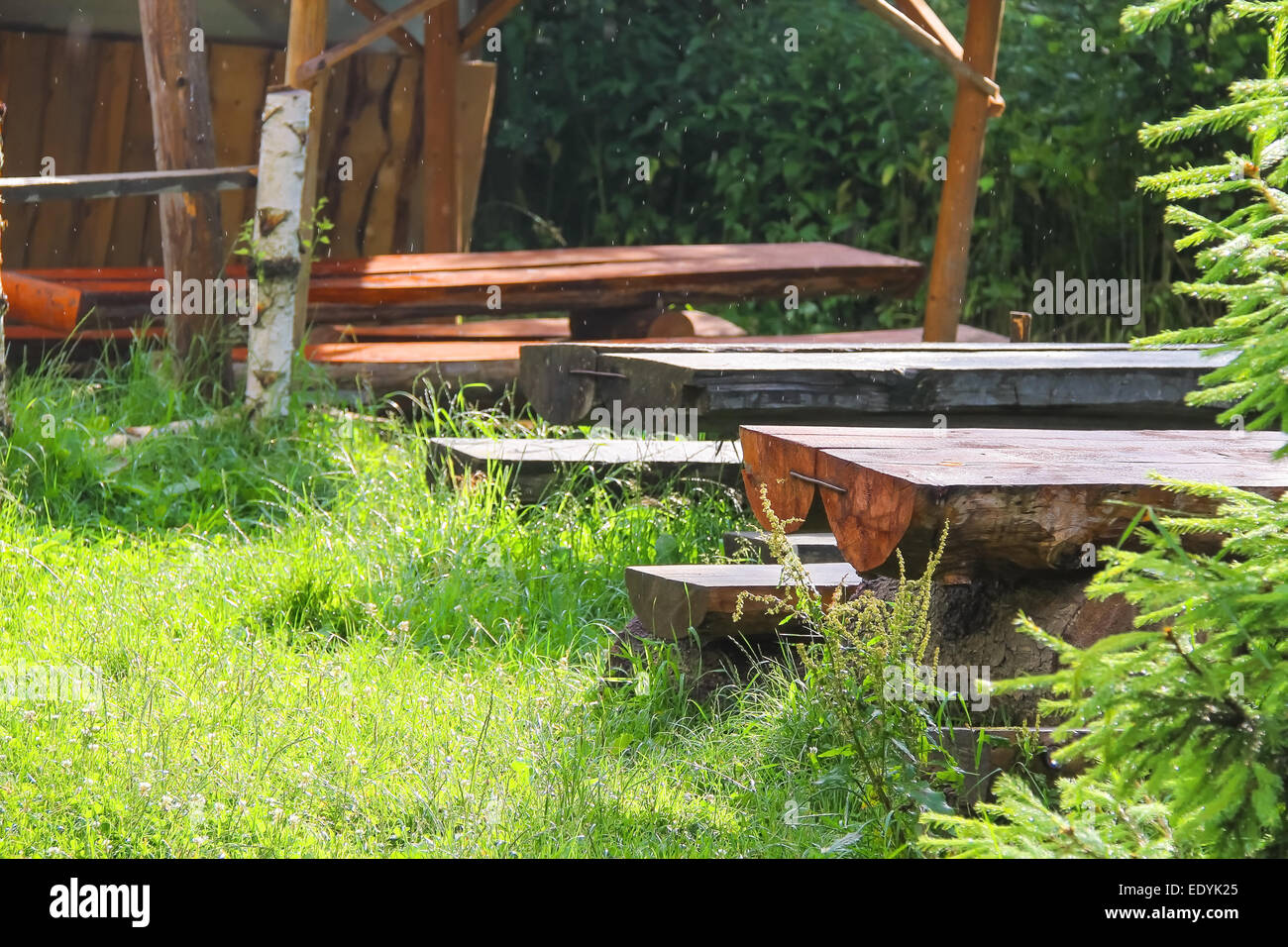 Brilliant Wooden Tables And Benches In The Gazebo At The Park Stock Ibusinesslaw Wood Chair Design Ideas Ibusinesslaworg