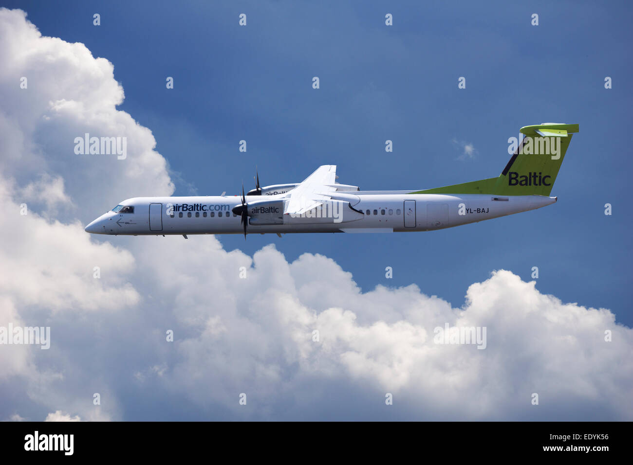 Aircraft YL-BAJ Air Baltic De Havilland Dash 8 in flight - Stock Image