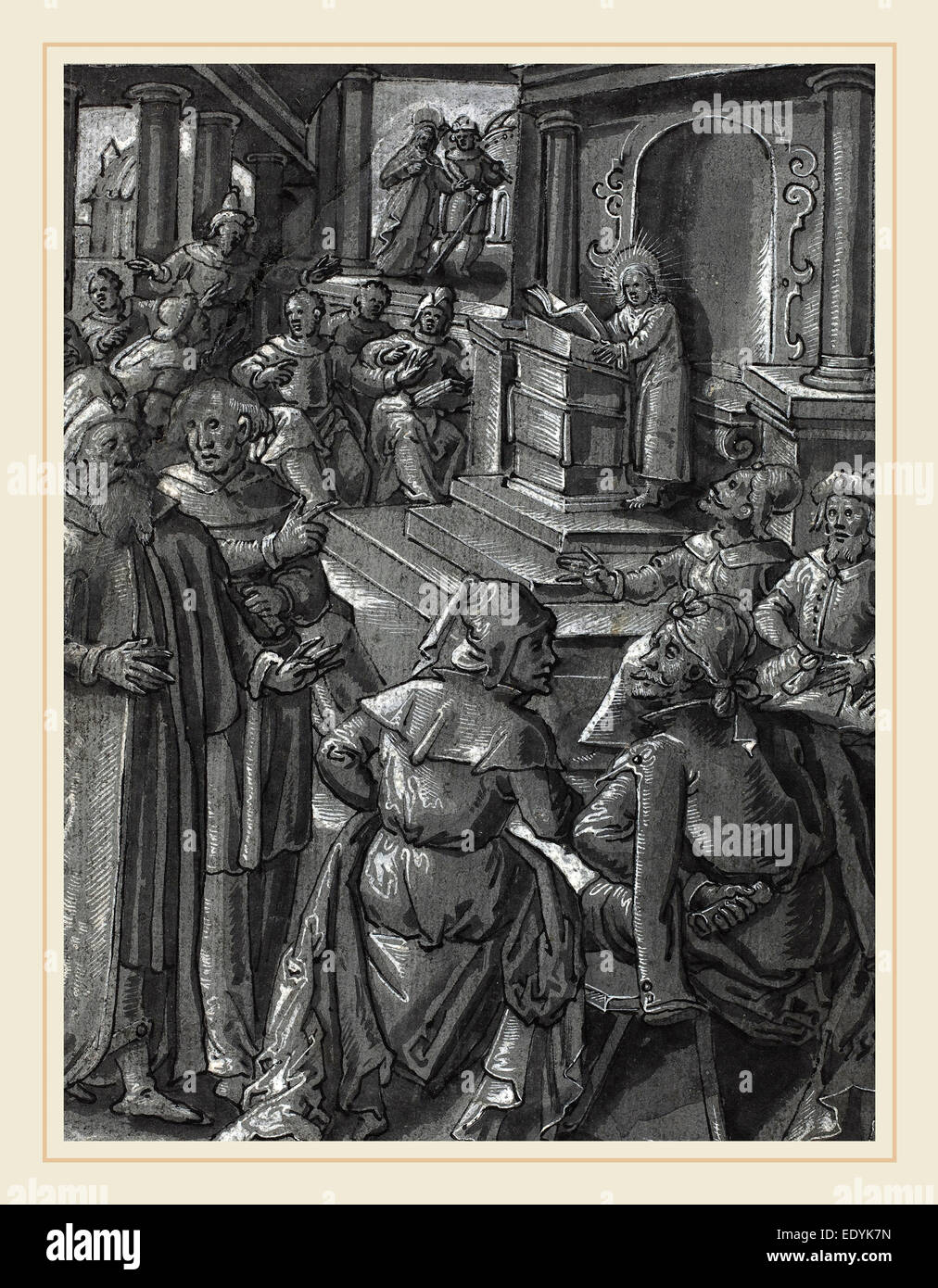 German 16th Century, Christ Healing the Lame [verso], c. 1600, pen and black ink with brush and gray ink - Stock Image