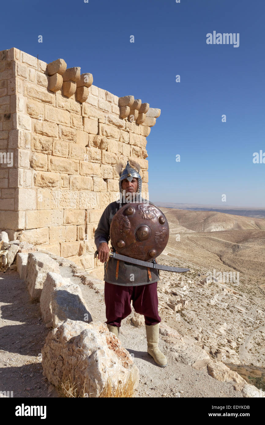 Knight actor, defence tower with Arabic inscription, Montreal Crusader castle, also Mons Regalis, Shoubak or Shawbak, - Stock Image