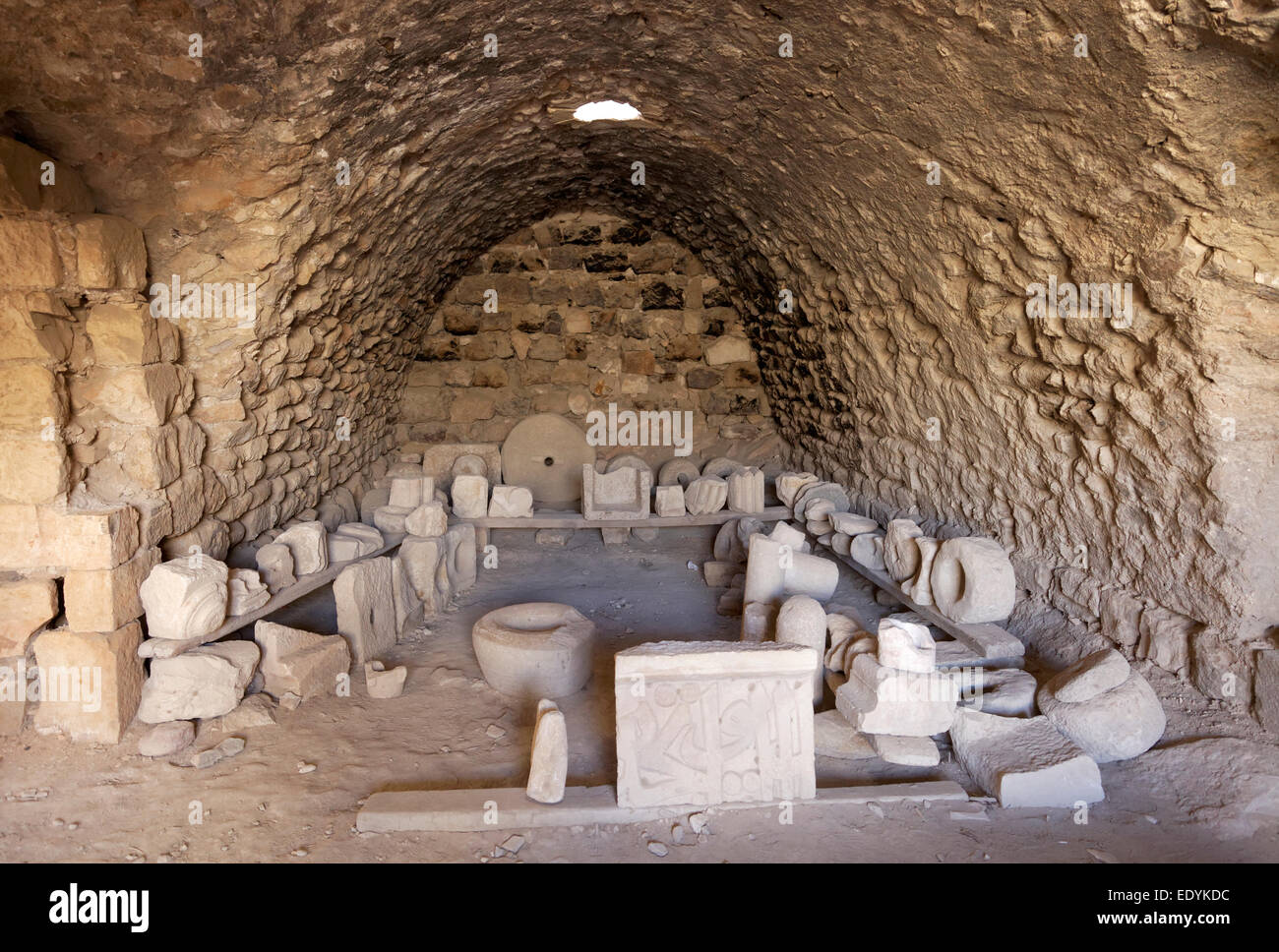 Vault with rock fragments, Montreal Crusader castle, also Mons Regalis, Shoubak or Shawbak, fortress, hill castle, - Stock Image