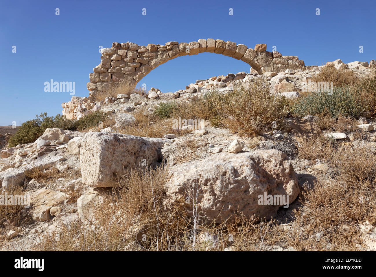 Rubble stones, archway, Montreal Crusader castle, also Mons Regalis, Shoubak or Shawbak, fortress, hill castle, - Stock Image