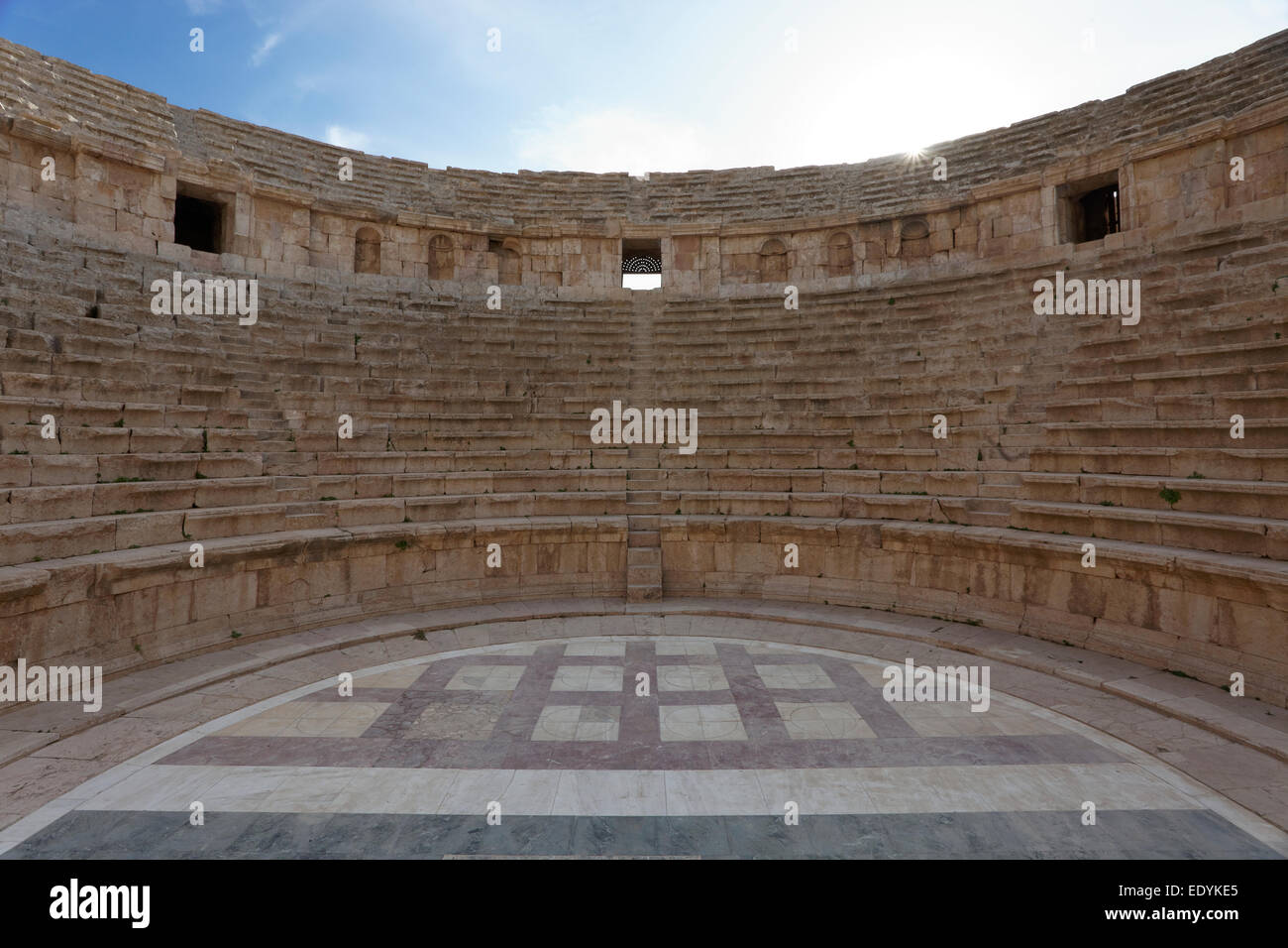 South Theatre, built in 90 - 92 AD, with 32 rows of seats for 5,000 spectators, ancient Roman city of Jerash - Stock Image