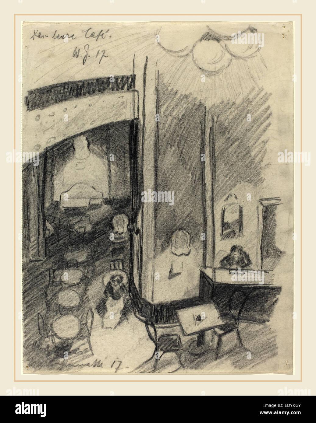 Walter Gramatté, Das leere Café (The Empty Café), German, 1897-1929, 1917, graphite with touches - Stock Image