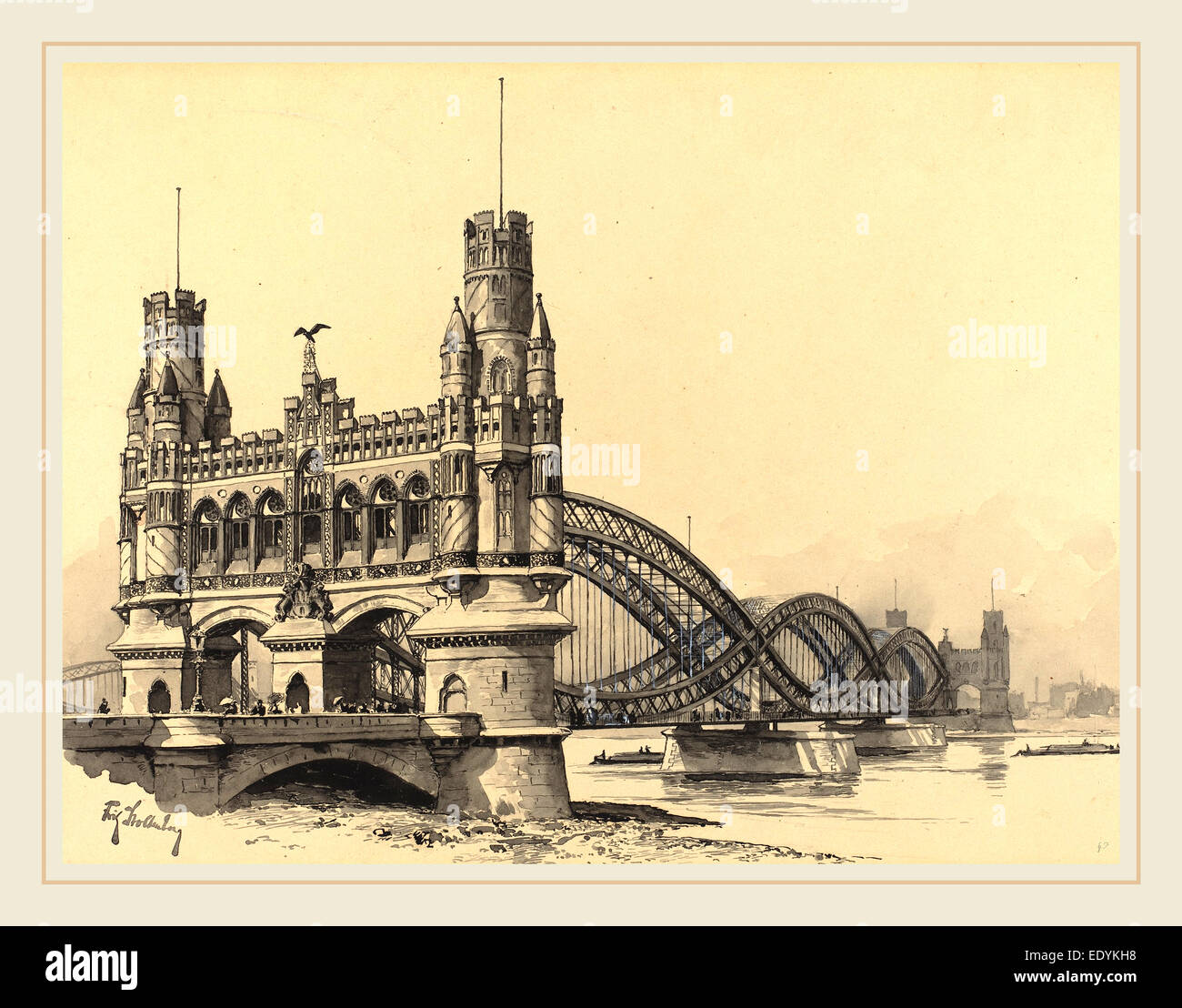Fritz Stoltenberg, German (1855-1921), Elbbrucke, 1893, watercolor - Stock Image