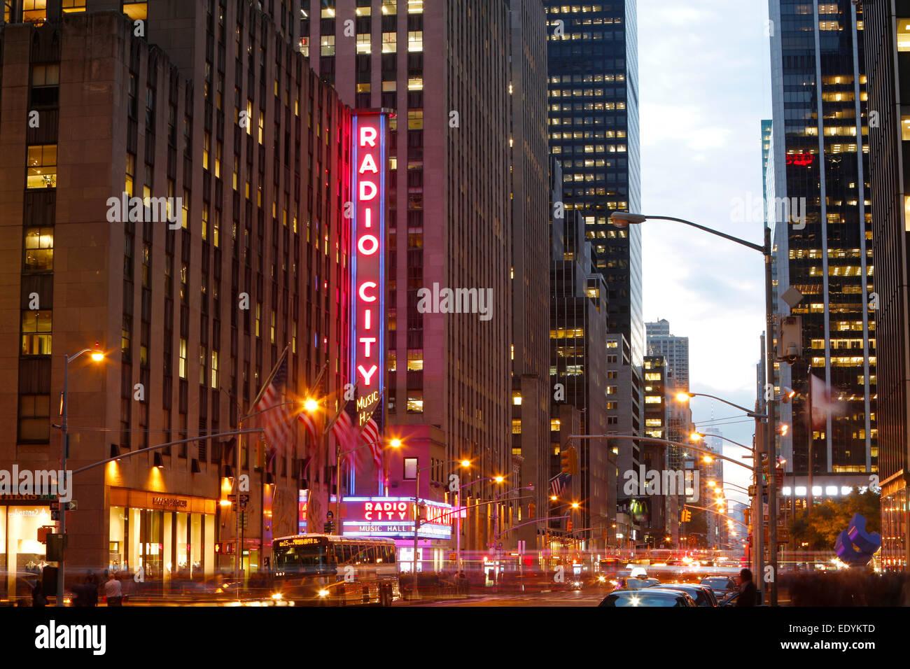Radio City Music Hall, 1260 Avenue of the Americas, New York City, New York, United States - Stock Image