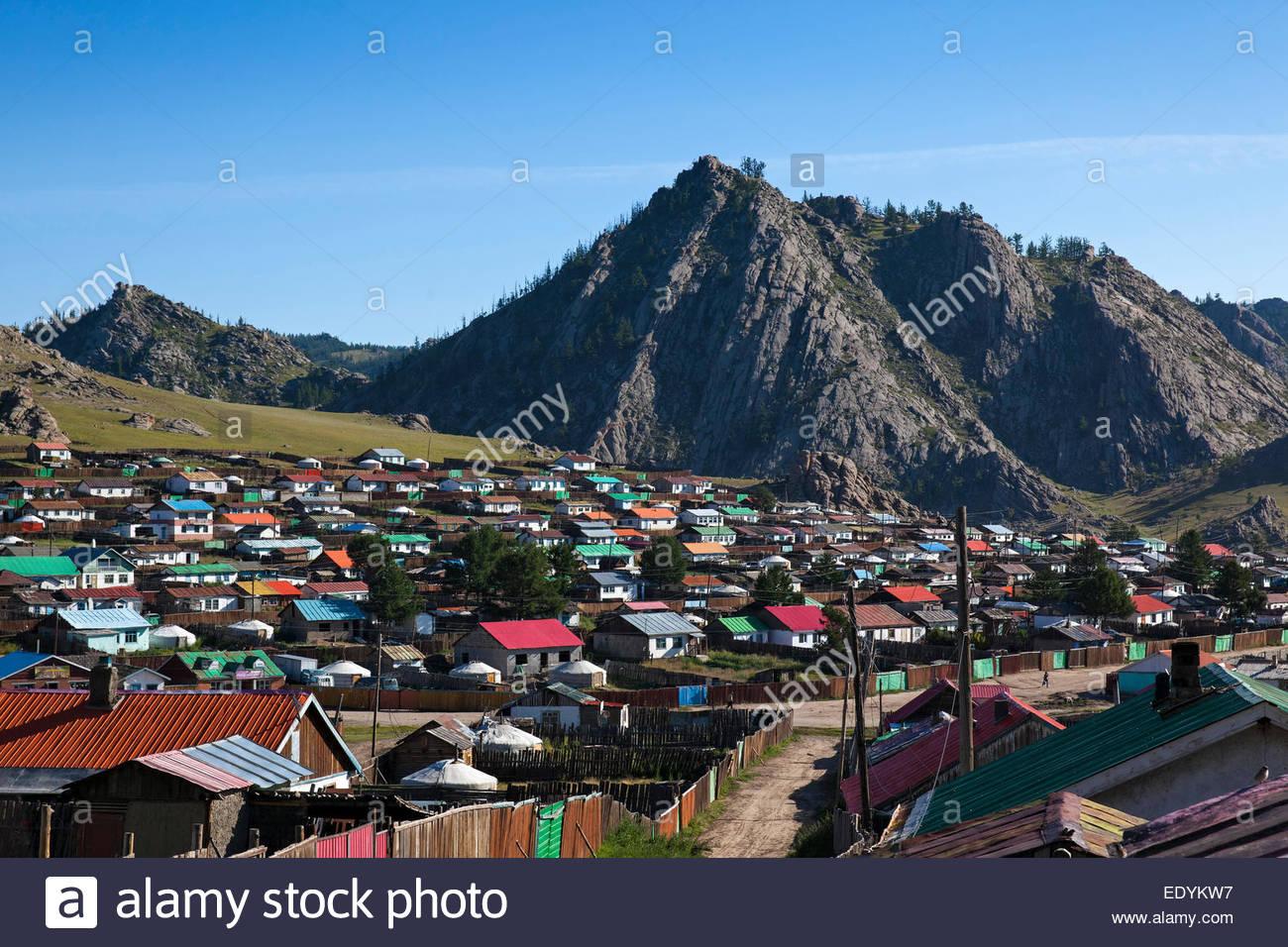 View of Tsetserleg, Arkhangai Province, Mongolia Stock Photo