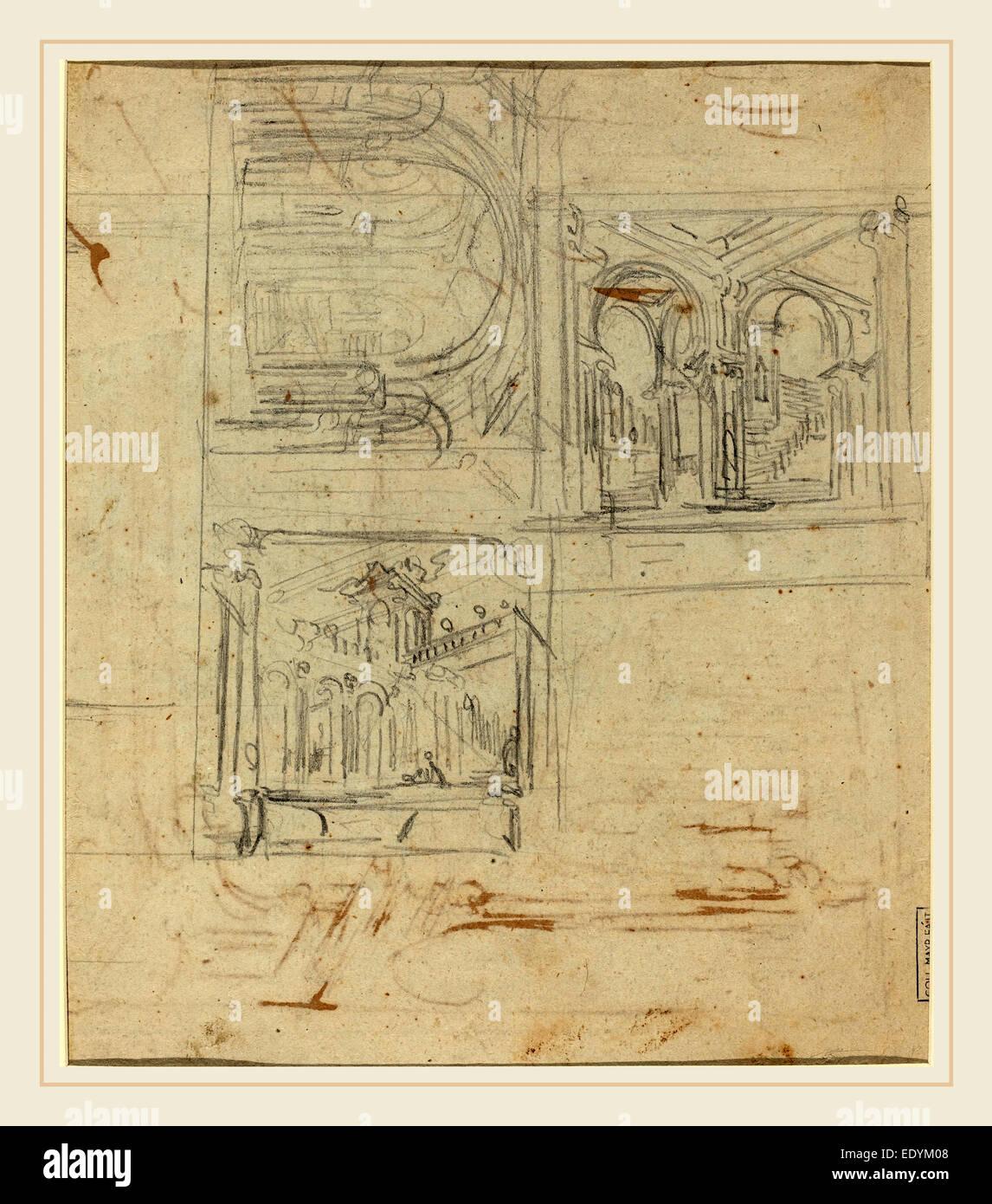 Italian 18th Century, Fantastic Architectural Studies, graphite on laid paper - Stock Image