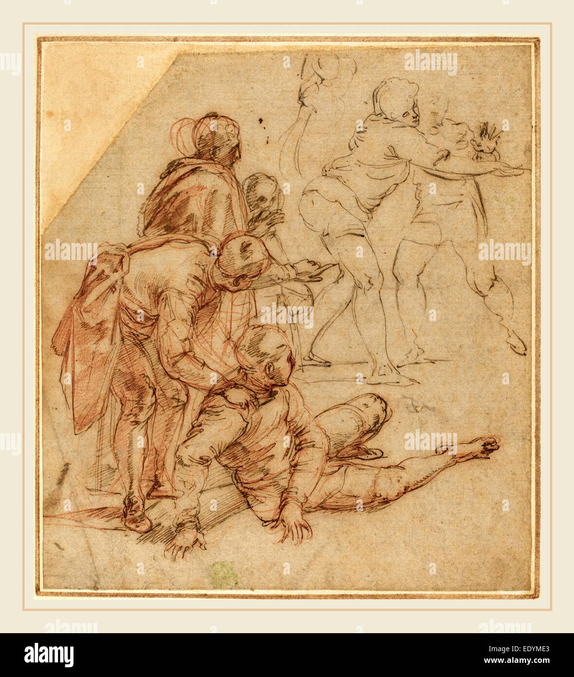 Battista Franco, Italian (probably 1498-1561), Spectators Amazed, 1540s, pen and brown ink over red and black chalk - Stock Image