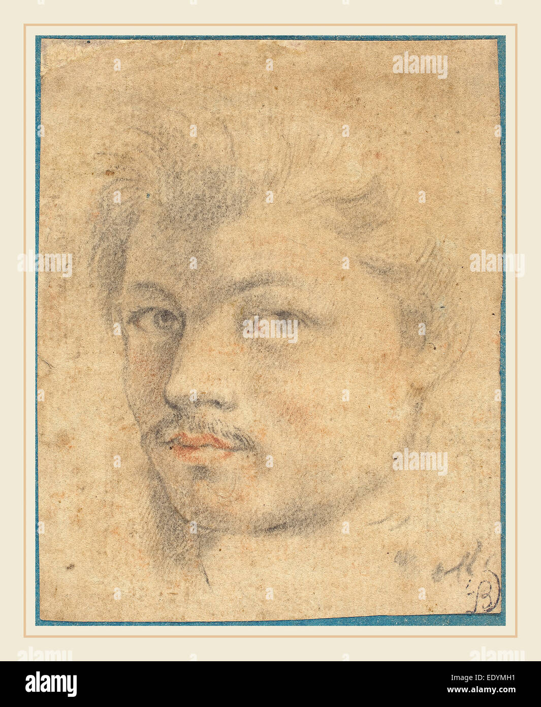 Jacob Matham, Dutch (1571-1631), Head of a Man, black and red chalk on laid paper - Stock Image