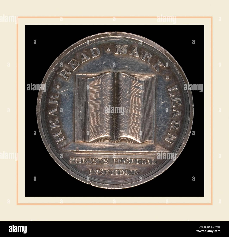 Lewis Pingo, Open Book of Exodus , British, 1743-1830, designed c. 1780-1790, awarded 1846, silver - Stock Image