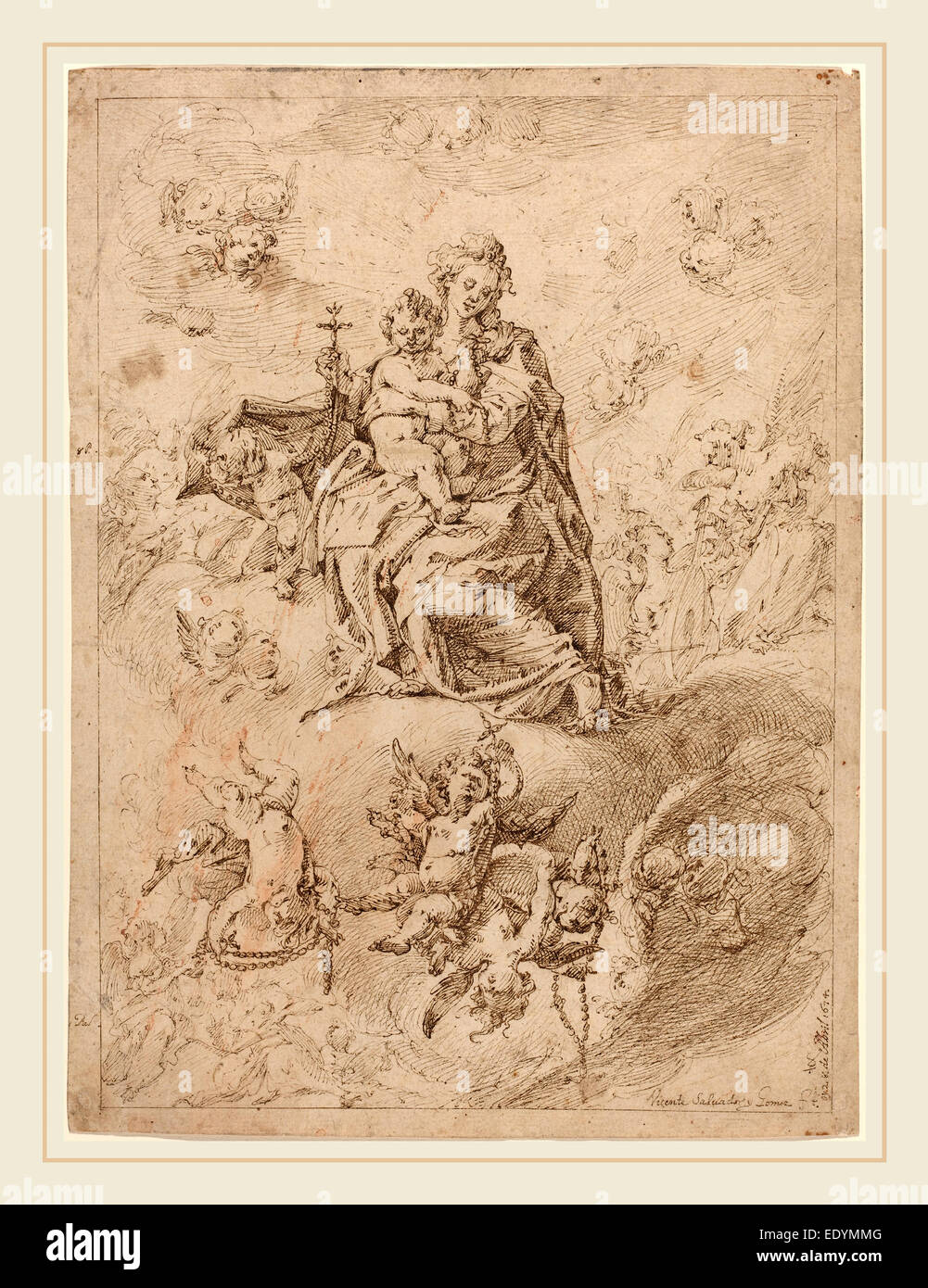Vicente Salvador Gómez (Spanish, 1637-c. 1680), The Madonna of the Rosary, 1674, pen and brown ink on laid - Stock Image