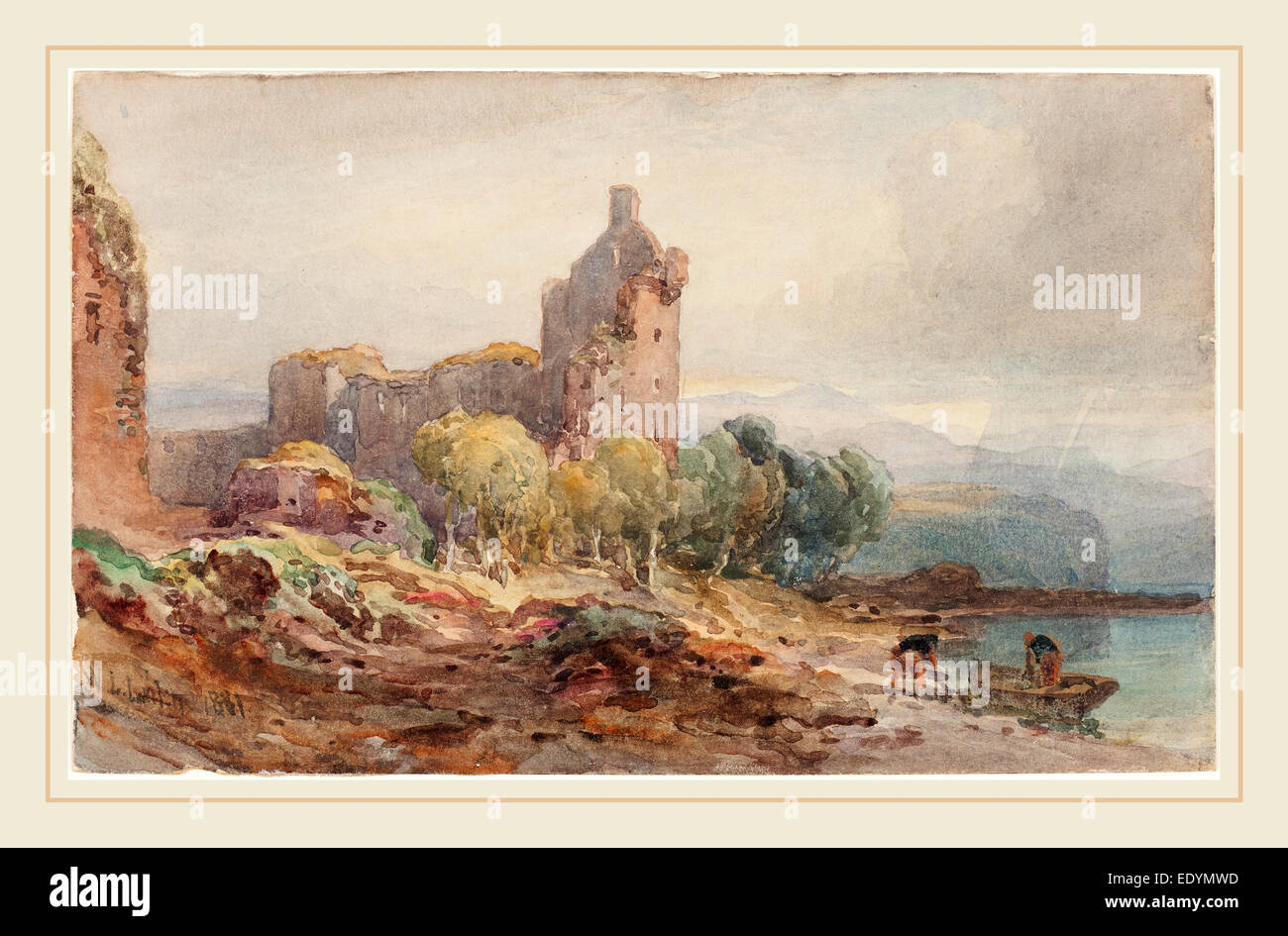 William Leighton Leitch, British (1804-1883), A Ruined Castle on a Lake, 1881, watercolor over graphite on wove - Stock Image