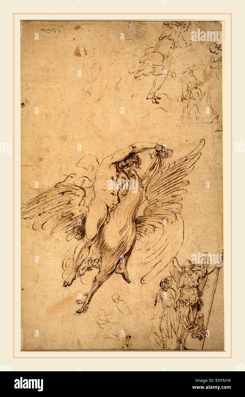 Italian 17th Century, Ganymede, pen and brown ink over black crayon - Stock Image