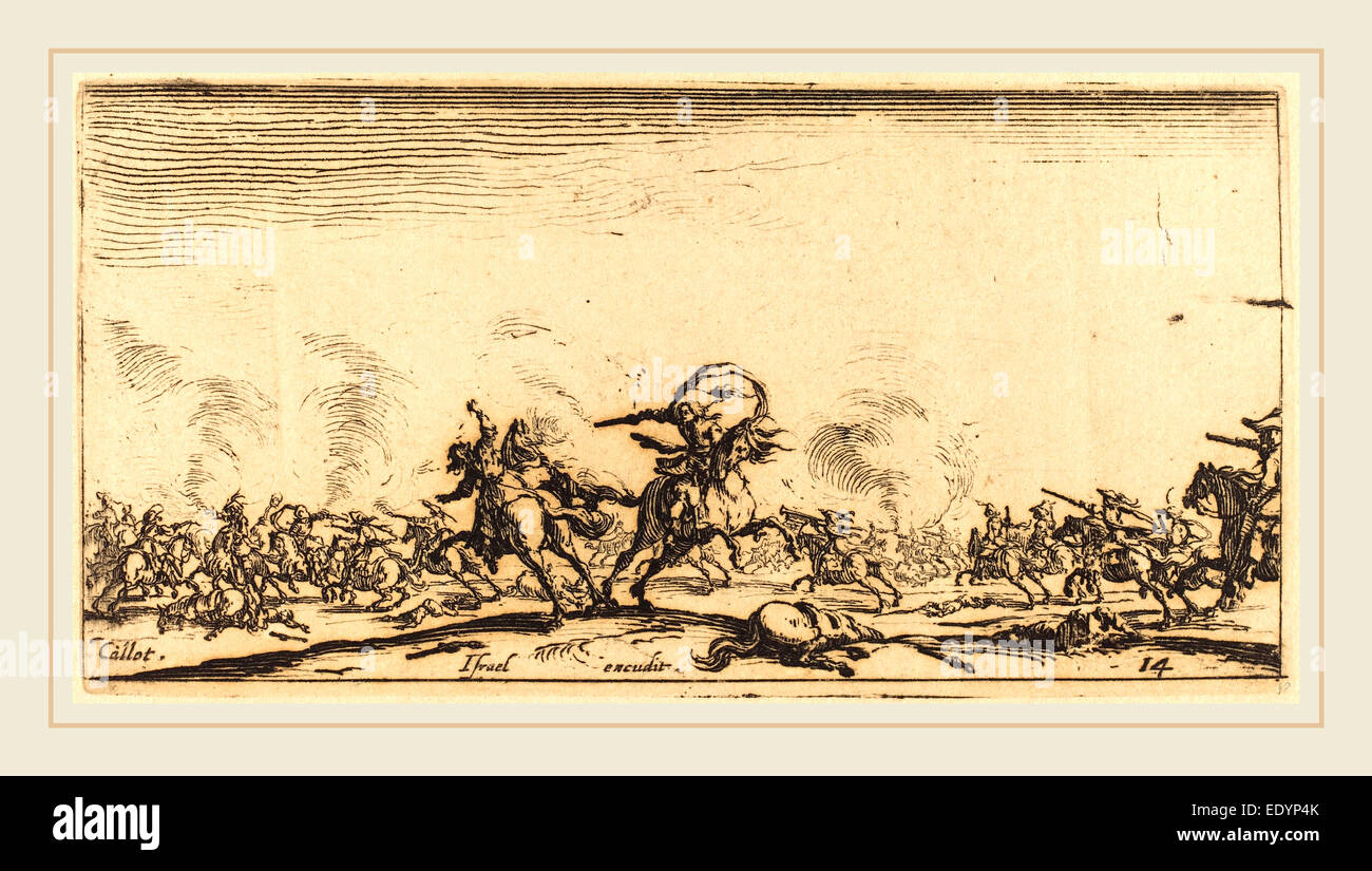 Jacques Callot, French (1592-1635), The Cavalry Combat with Pistols, c. 1632-1634, etching - Stock Image