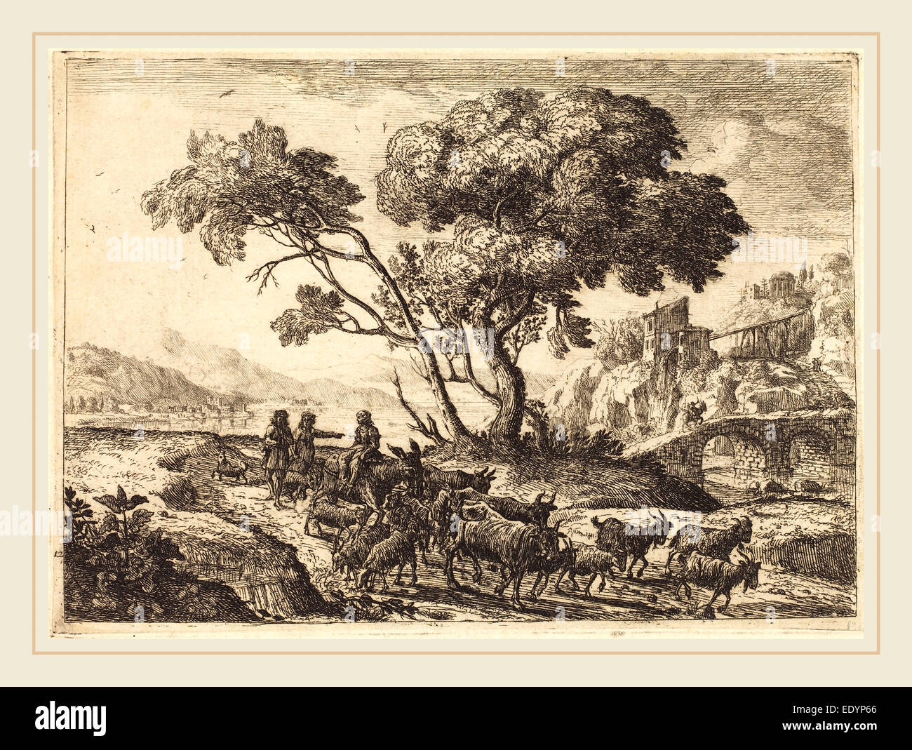 Claude Lorrain, French (1604-1605-1682), Departure for the Fields, 1638-1641, etching in black on laid paper - Stock Image