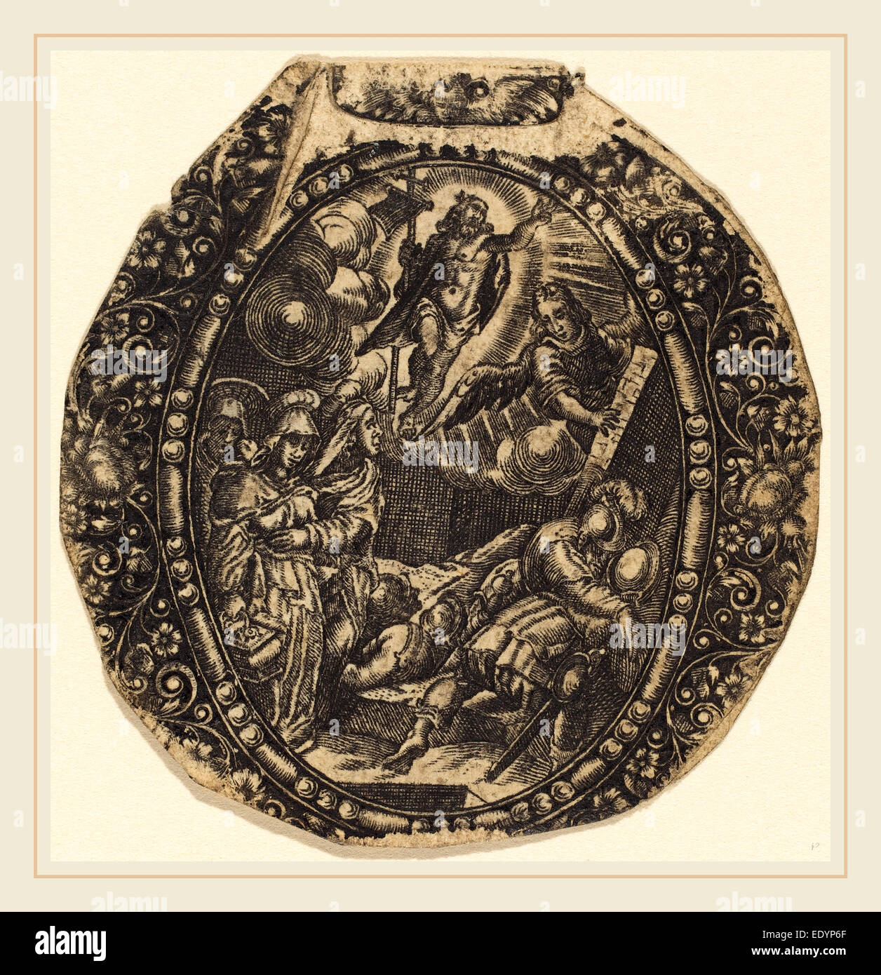 Antoine Jacquard, French (died 1652), The Resurrection, engraving - Stock Image