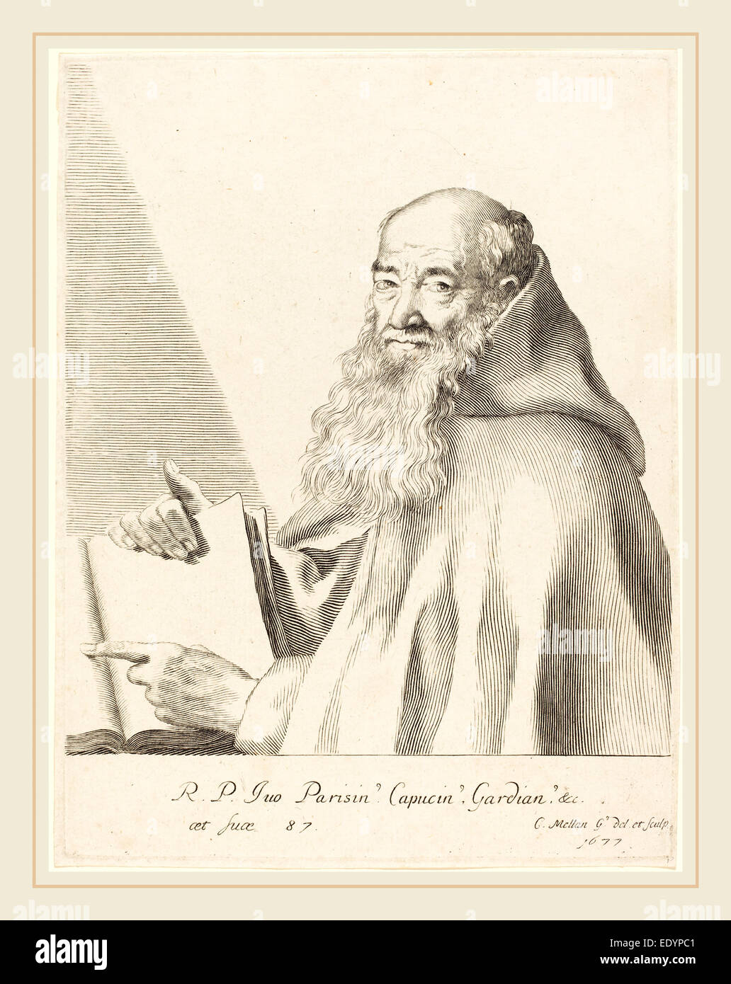 Claude Mellan, French (1598-1688), Pere Ives, 1677, engraving - Stock Image