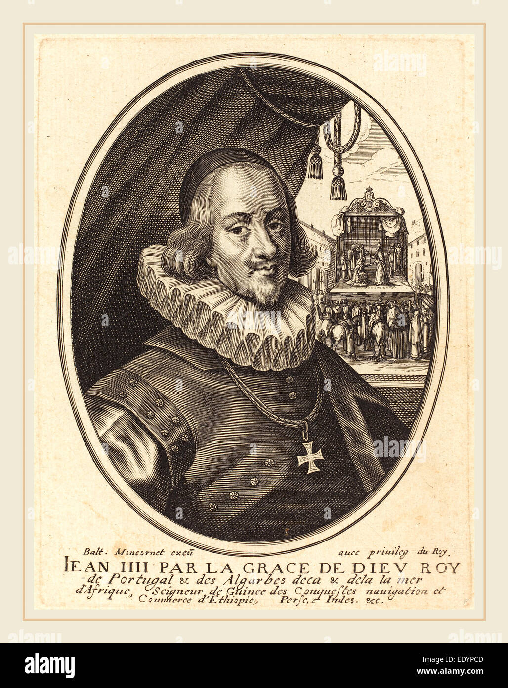 Balthasar Moncornet, French (c. 1600-1668), Jean IV, Duke of Bragance, engraving on laid paper - Stock Image