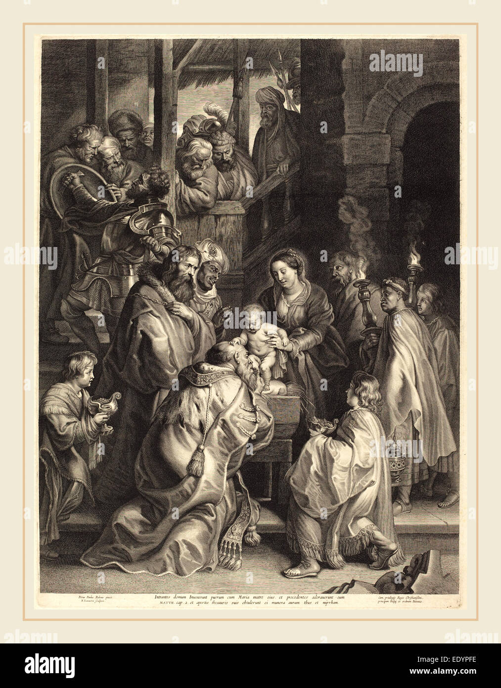 Nicolaes Lauwers, after Sir Peter Paul Rubens, Flemish (1600-1652), The  Adoration of the Magi with Torches, engraving