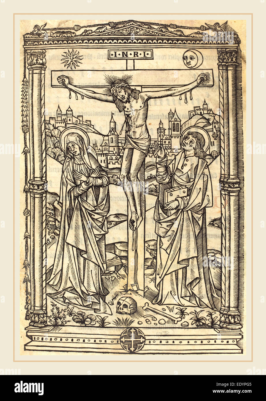French 15th Century, Christ on the Cross, c. 1490, woodcut on parchment - Stock Image