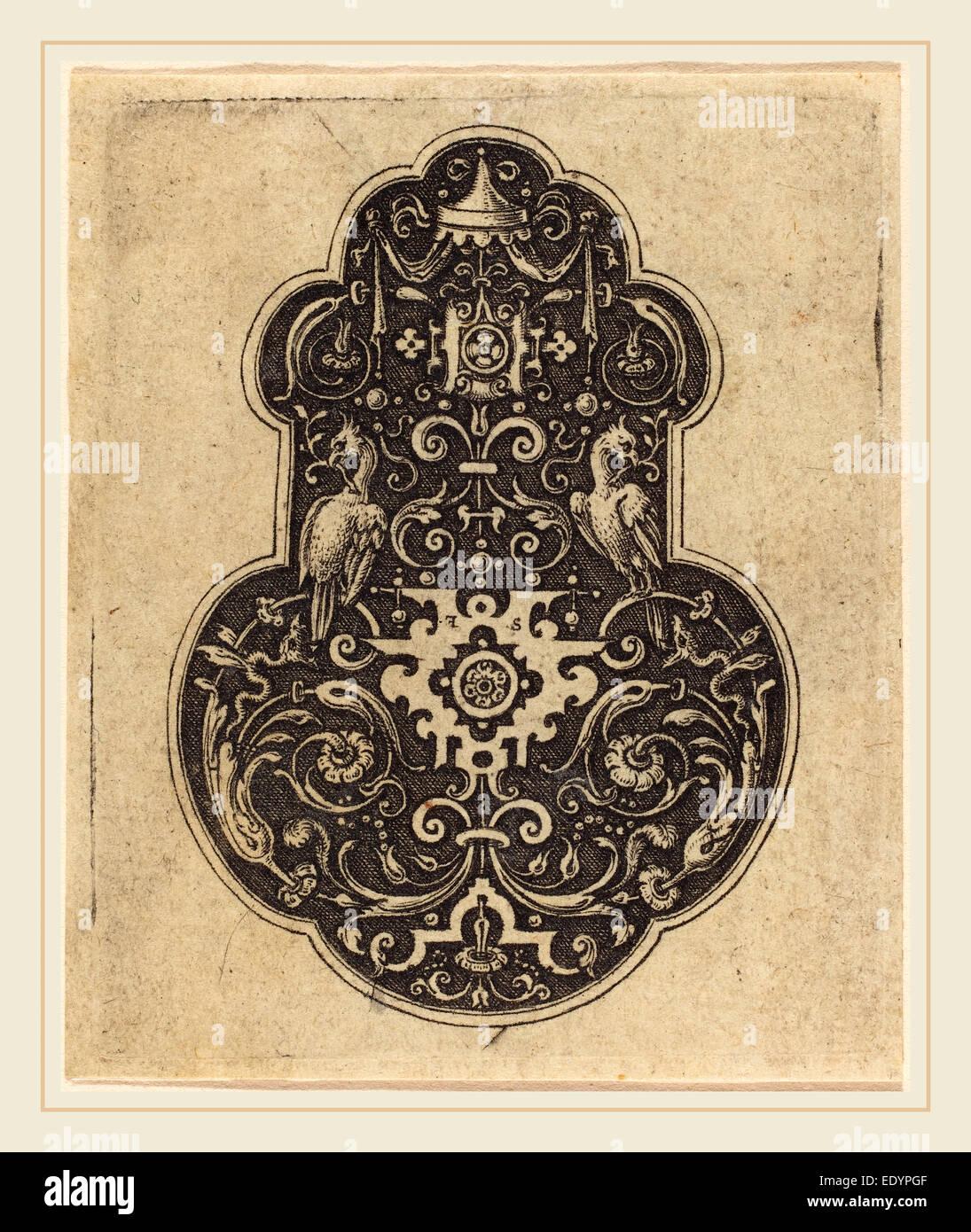 Etienne Delaune, French (1518-1519-1583), Arabesque Designs, engraving - Stock Image