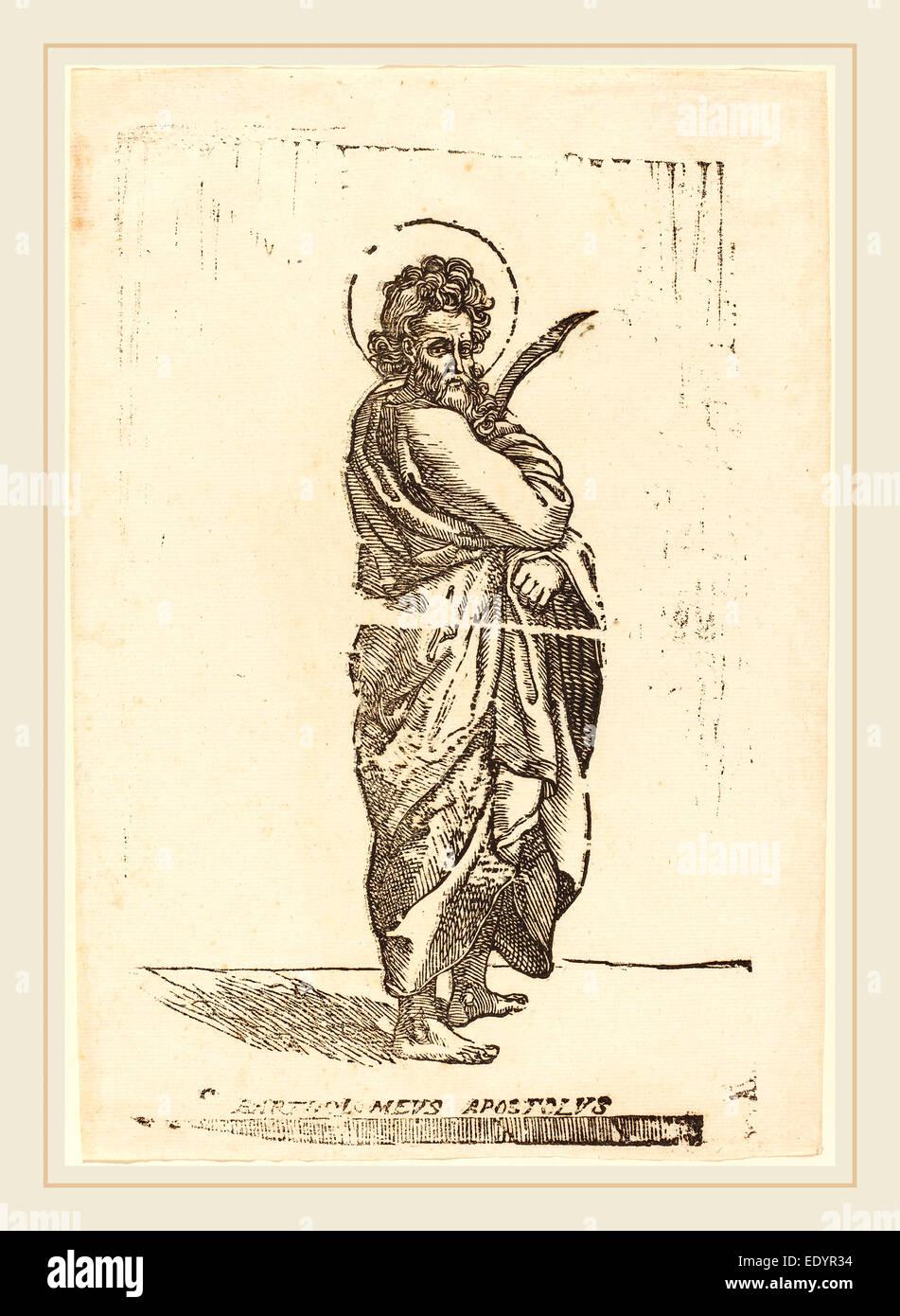 Jacques Stella, French (1596-1657), Saint Bartholomew, woodcut - Stock Image