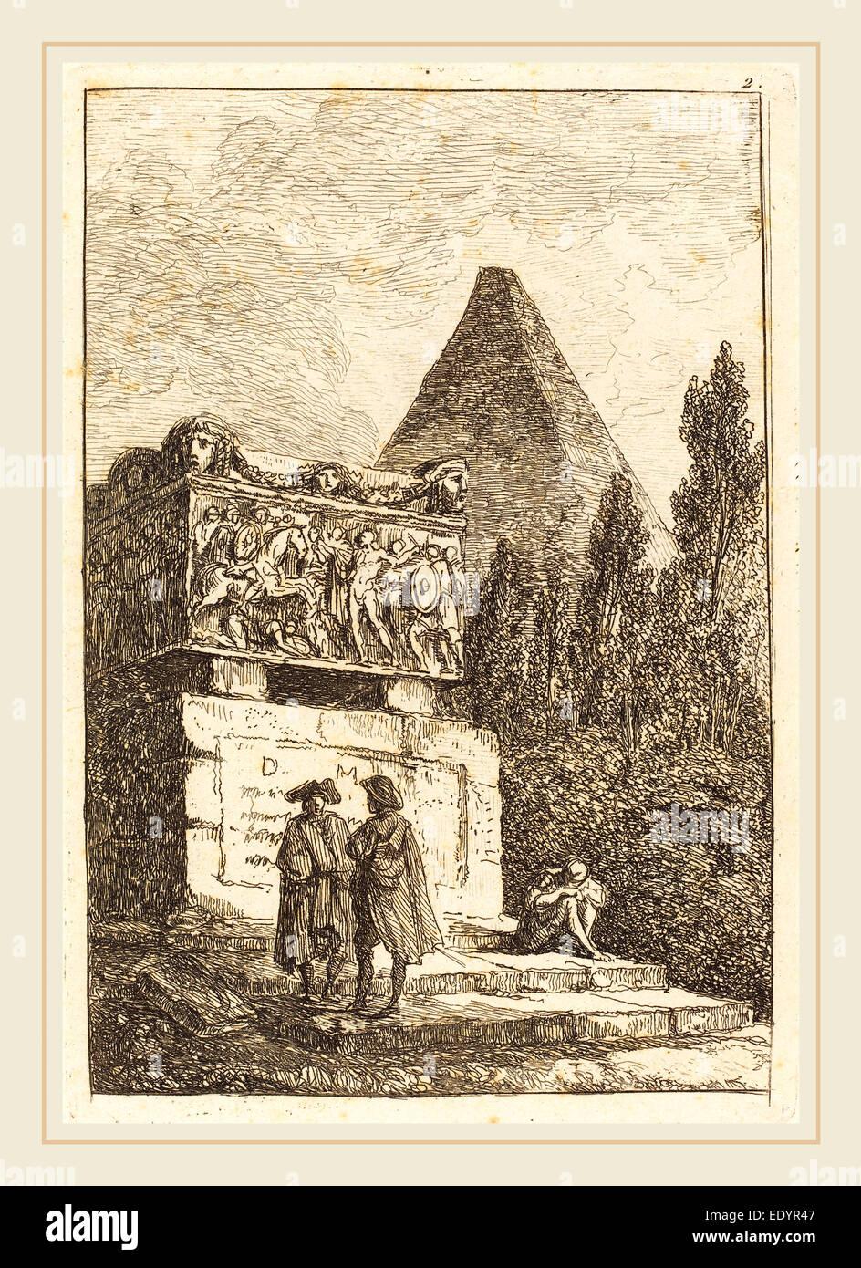 Hubert Robert, French (1733-1808), The Sarcophagus, etching - Stock Image