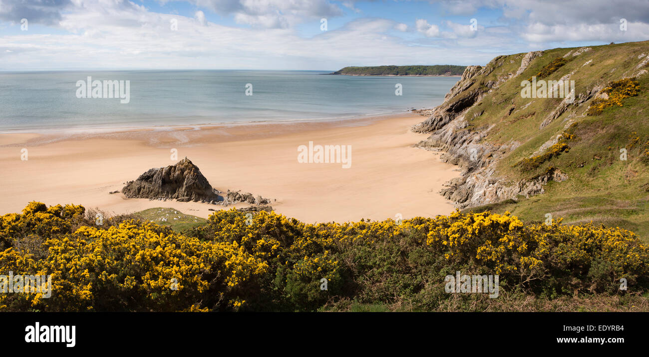 UK, Wales, Swansea, Gower, Three Cliffs Bay, Great Tor and Oxwich Point, panoramic - Stock Image