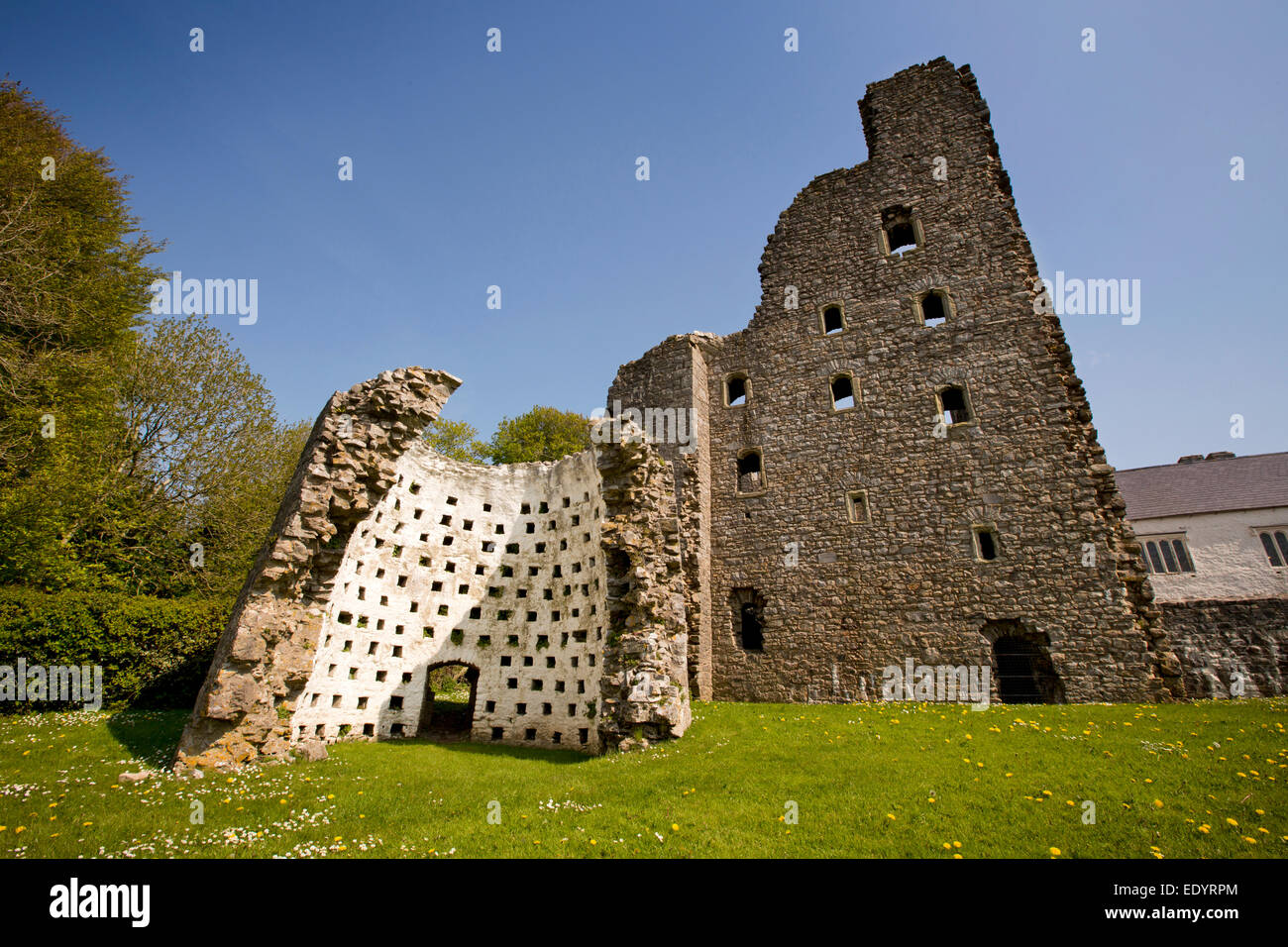 UK, Wales, Swansea, Gower, Oxwich Castle, dovecote ruins - Stock Image