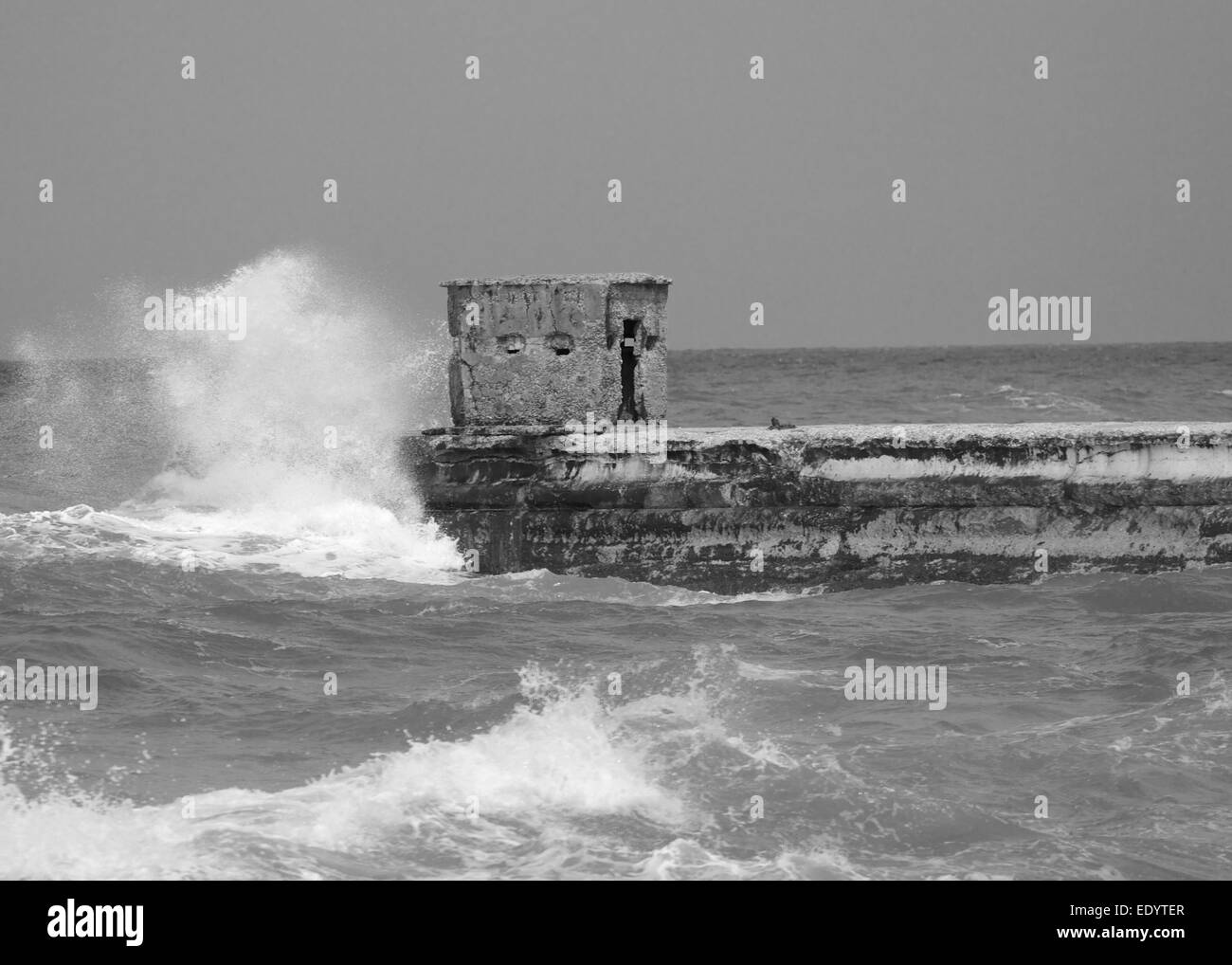 Windy day at the old port in Tel Aviv - Stock Image