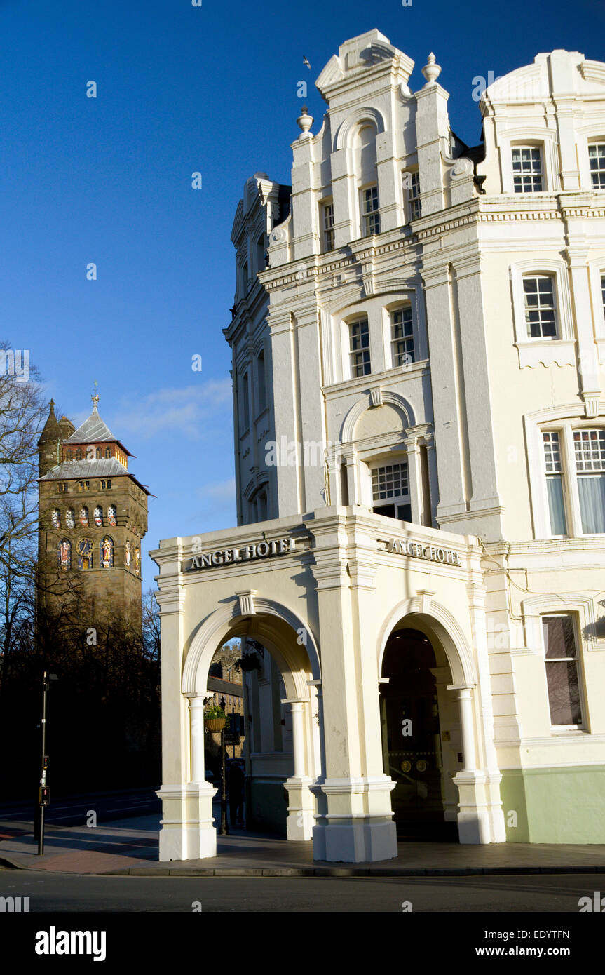 The Angel Hotel and Cardiff Castle, Cardiff, Wales. - Stock Image