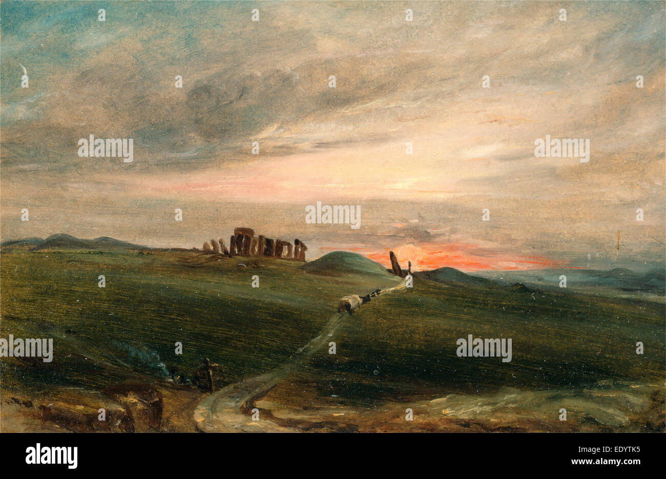 Stonehenge at Sunset, After John Constable, 1776-1837, British Stock Photo