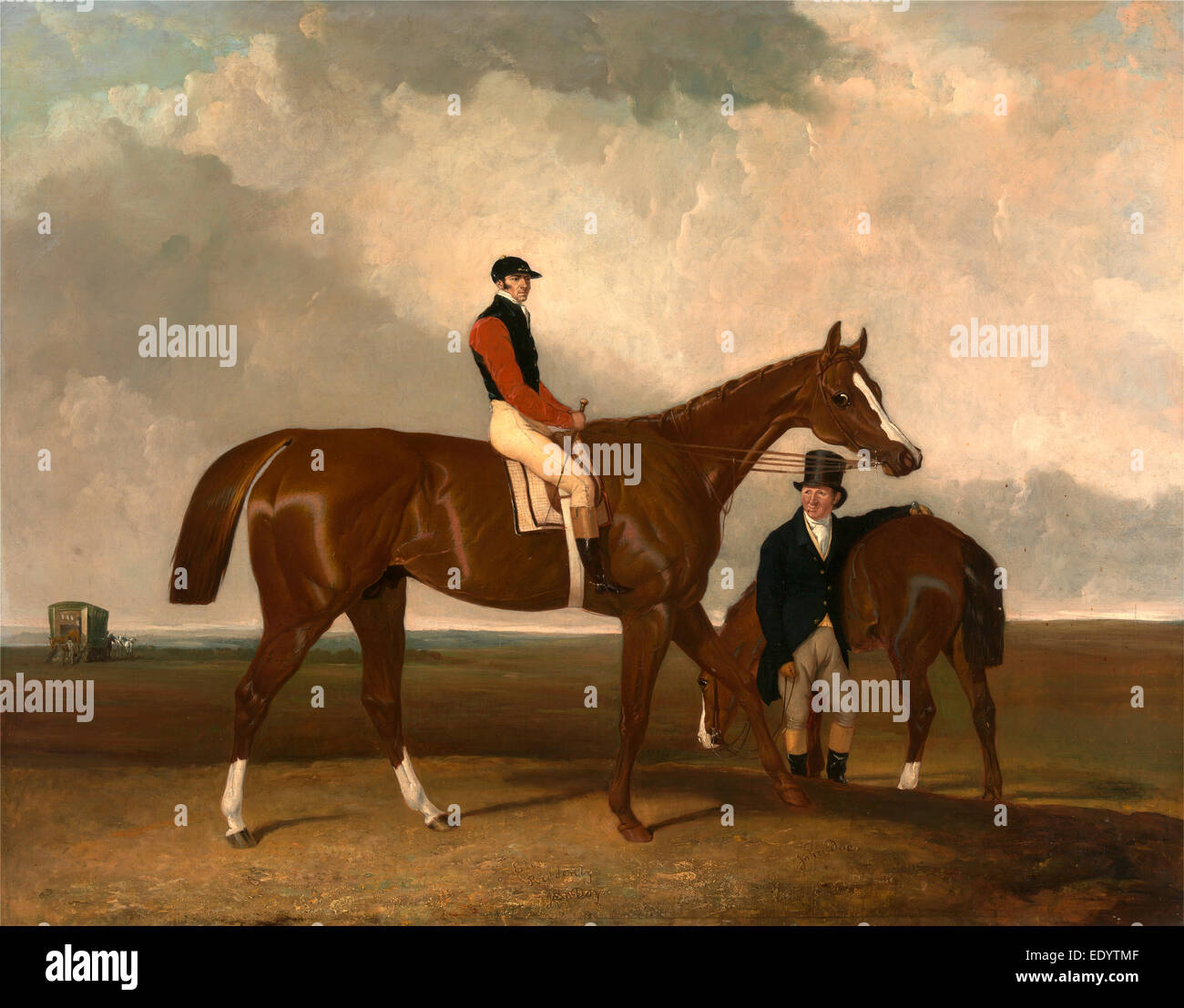 Elis' at Doncaster, Ridden by John Day, with his Van in the Background Inscribed - Stock Image