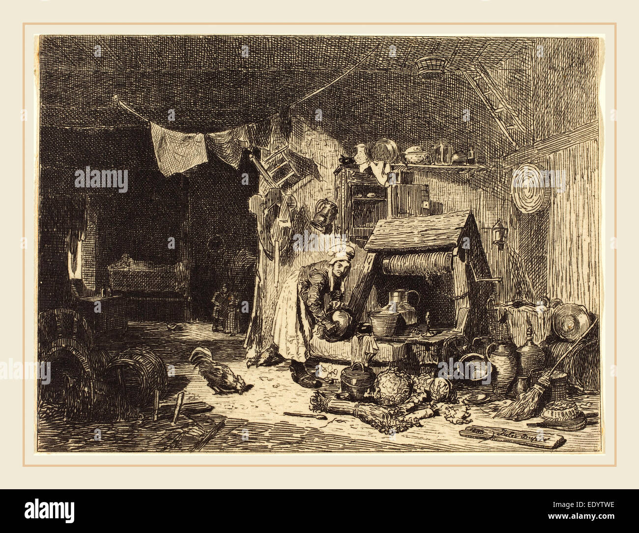 Jules Dupré, French (1811-1889), Interior of a Farmhouse, 1833, etching